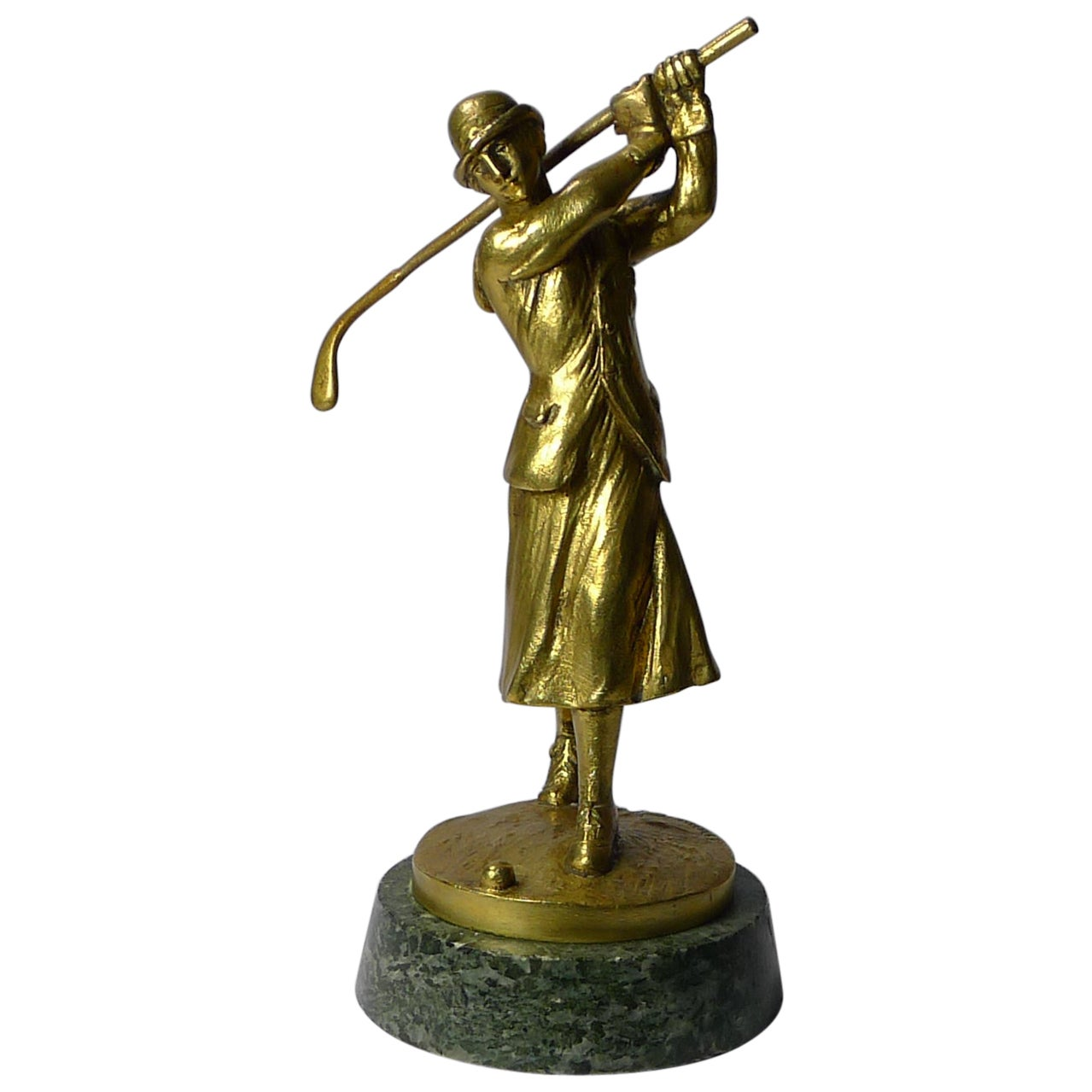 Art Deco Bronze Car Mascot in the from of a Lady Golfer, Jose Dunach