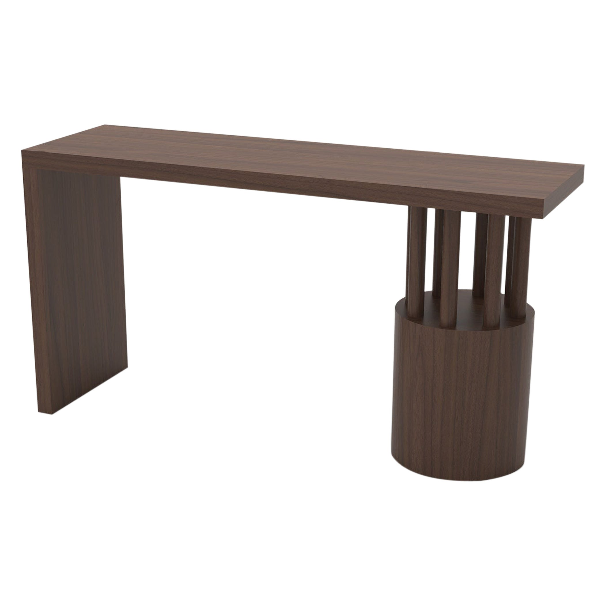 Wood Console Table with Solid Top and Round Base with Posts