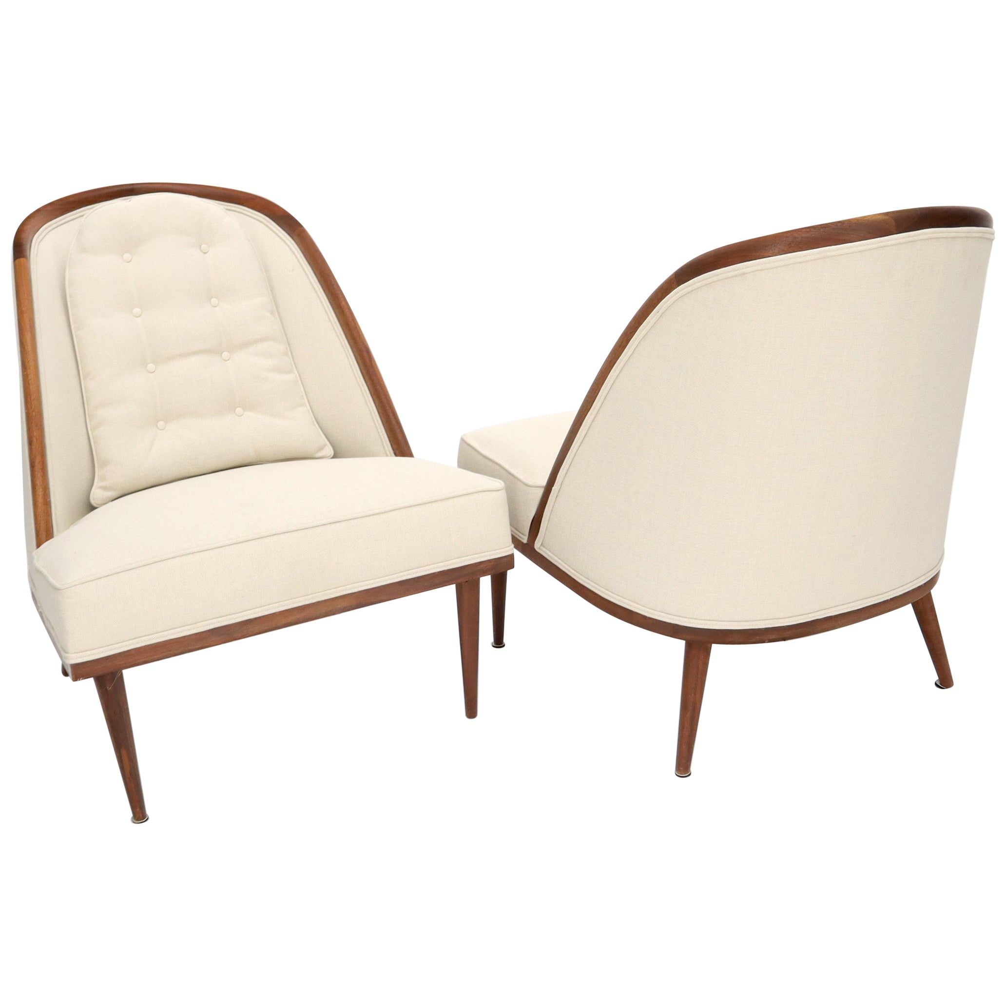 Pair of Oiled Walnut Frames Tall Tapered Legs New Upholstery Lounge Chairs