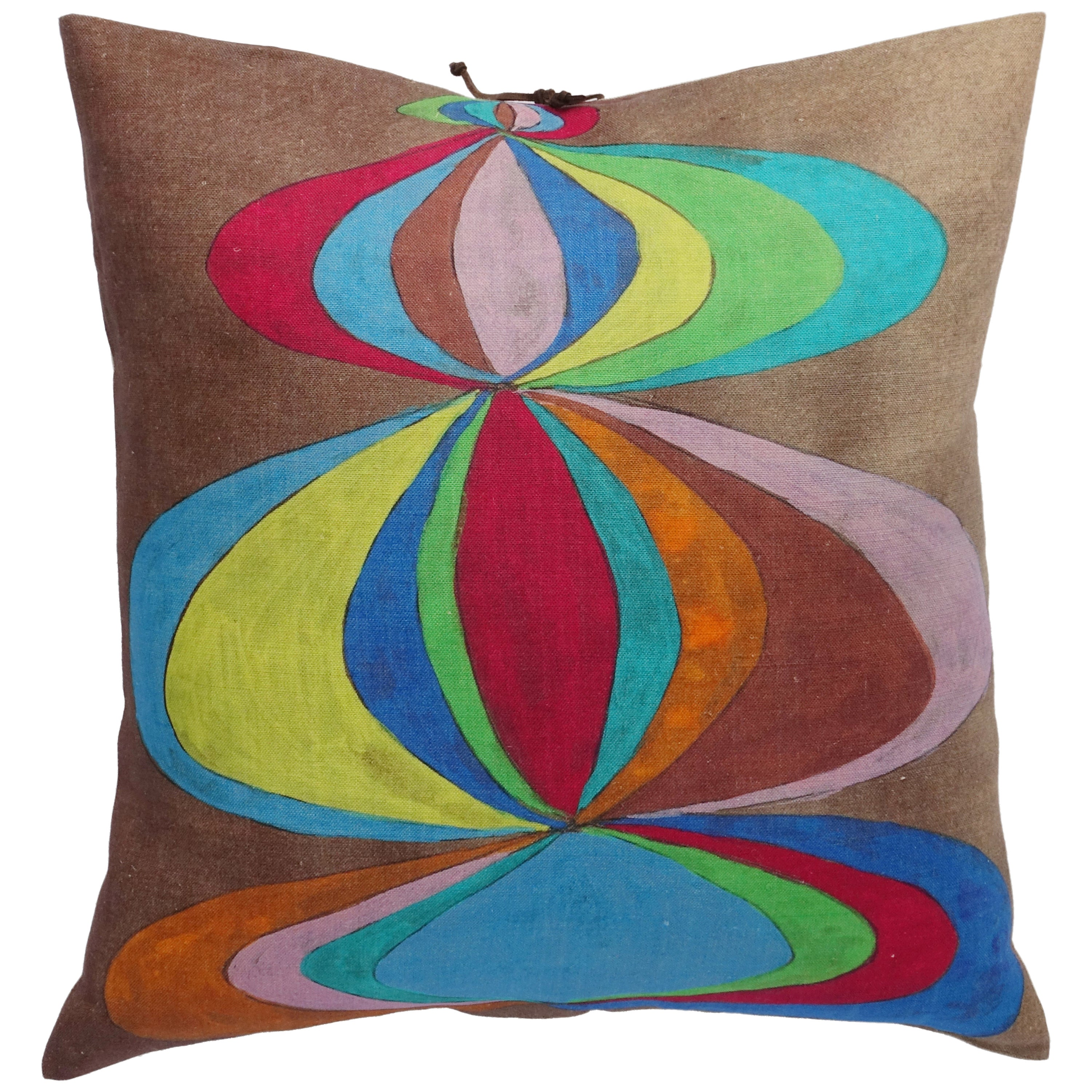 Printed Linen Pillow Concentric Multi