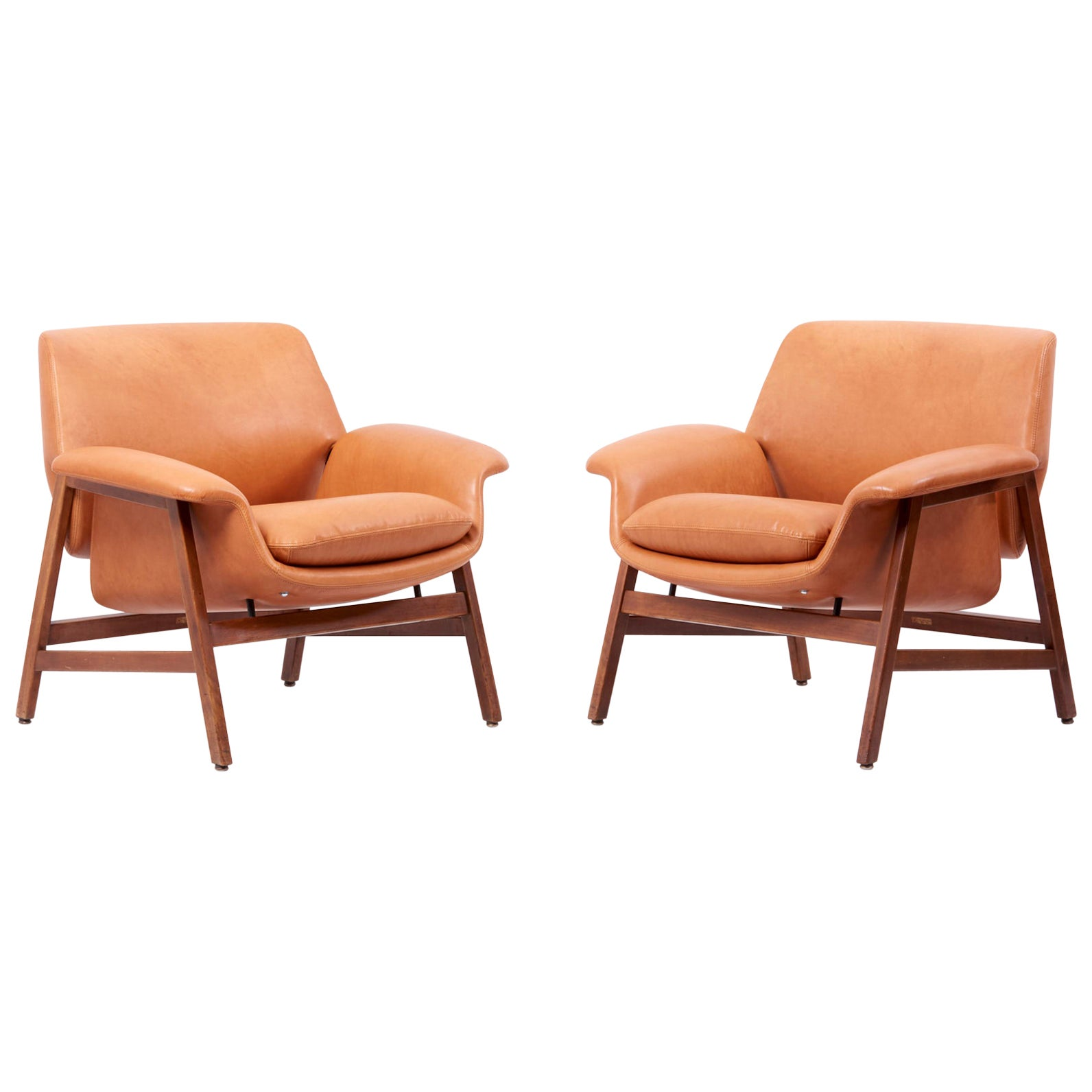 Gianfranco Frattini Lounge Chairs Model '849' for Cassina in Leather Italy 1950s