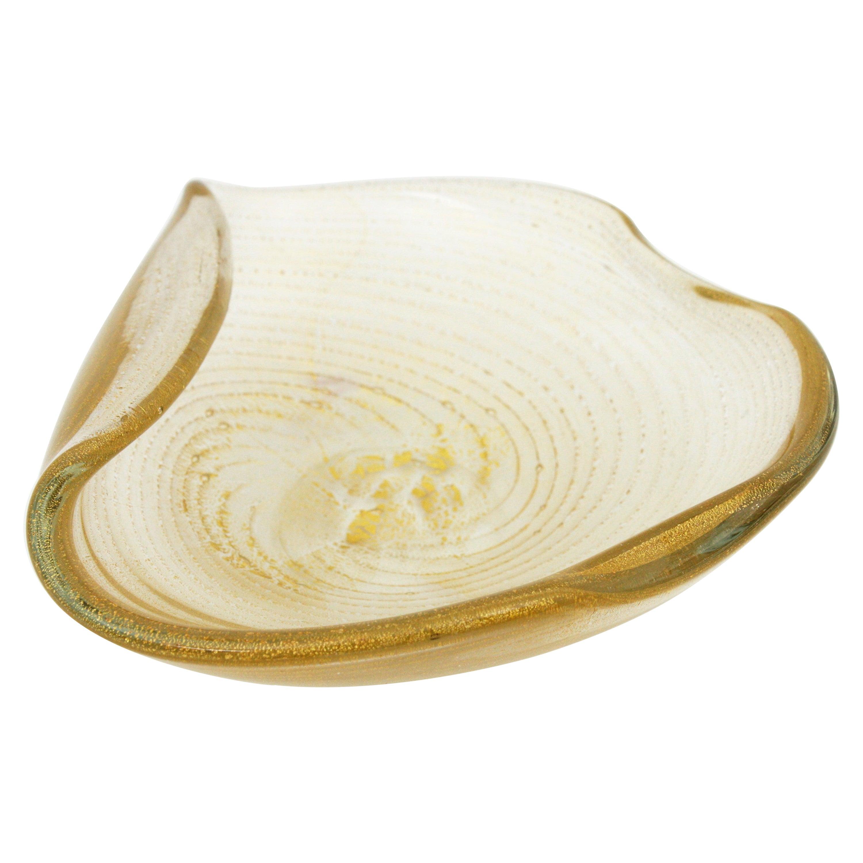 Barovier Toso Murano Gold Flecks Swirls Art Glass Bowl with Folded Rim
