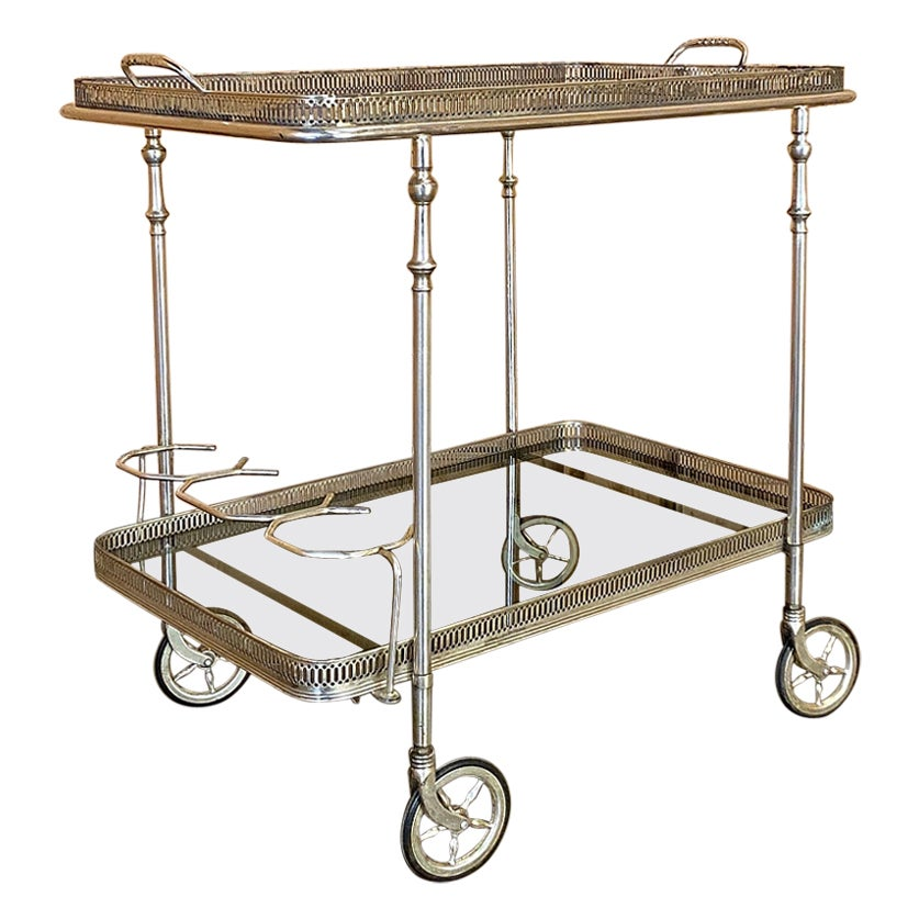 Midcentury Chromed Brass and Glass Bar Cart