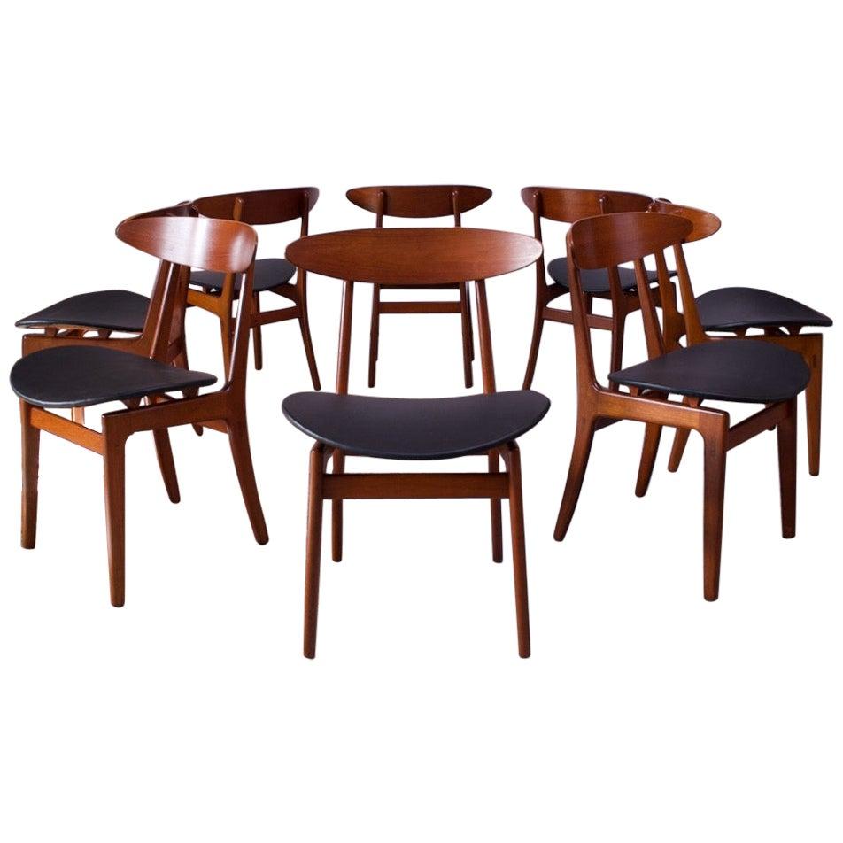 Set of Eight Sculptural Danish Teak Dining Chairs by Vilhelm Wohlert for Søborg