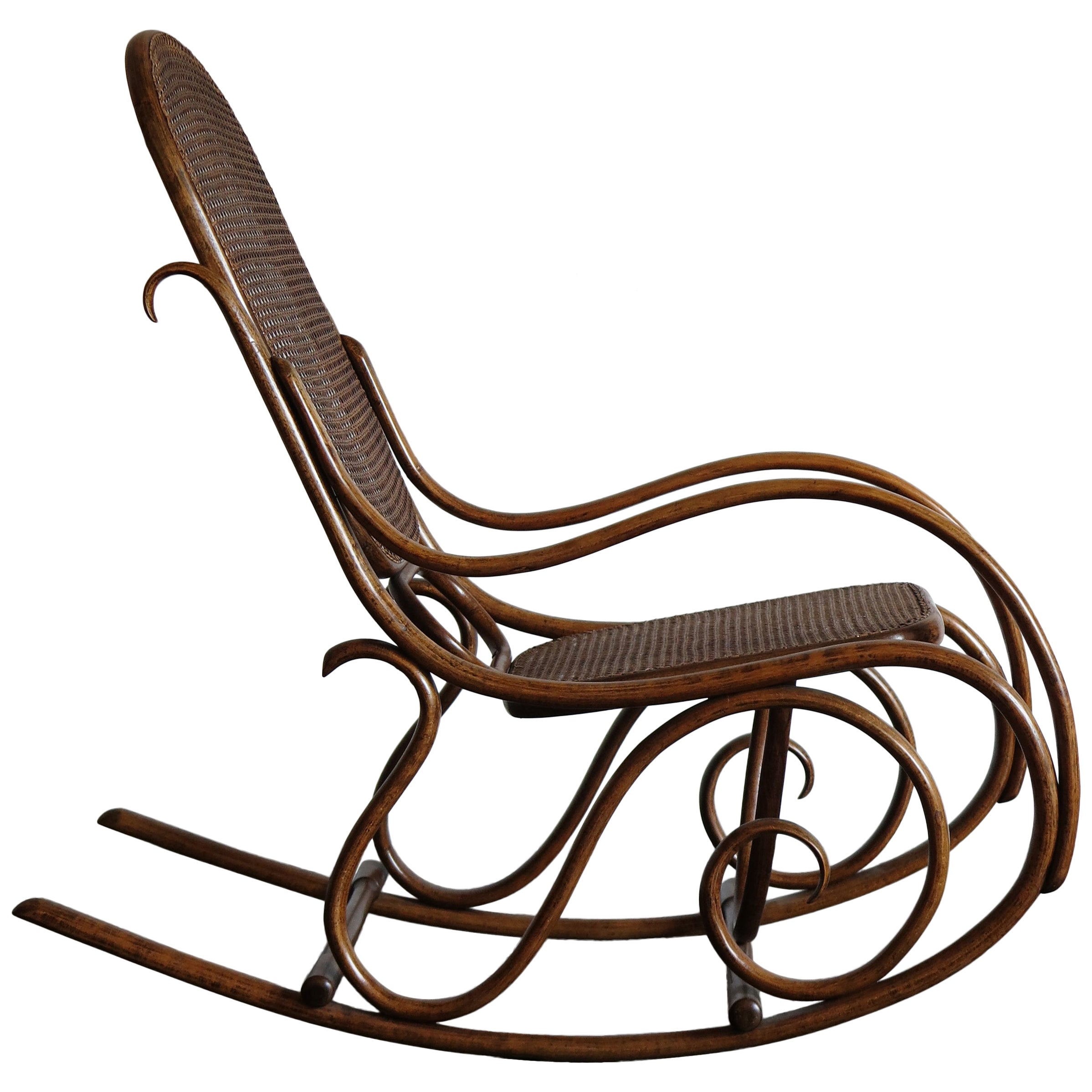 Thonet Bentwood Cane Rocking Chair, 1920s