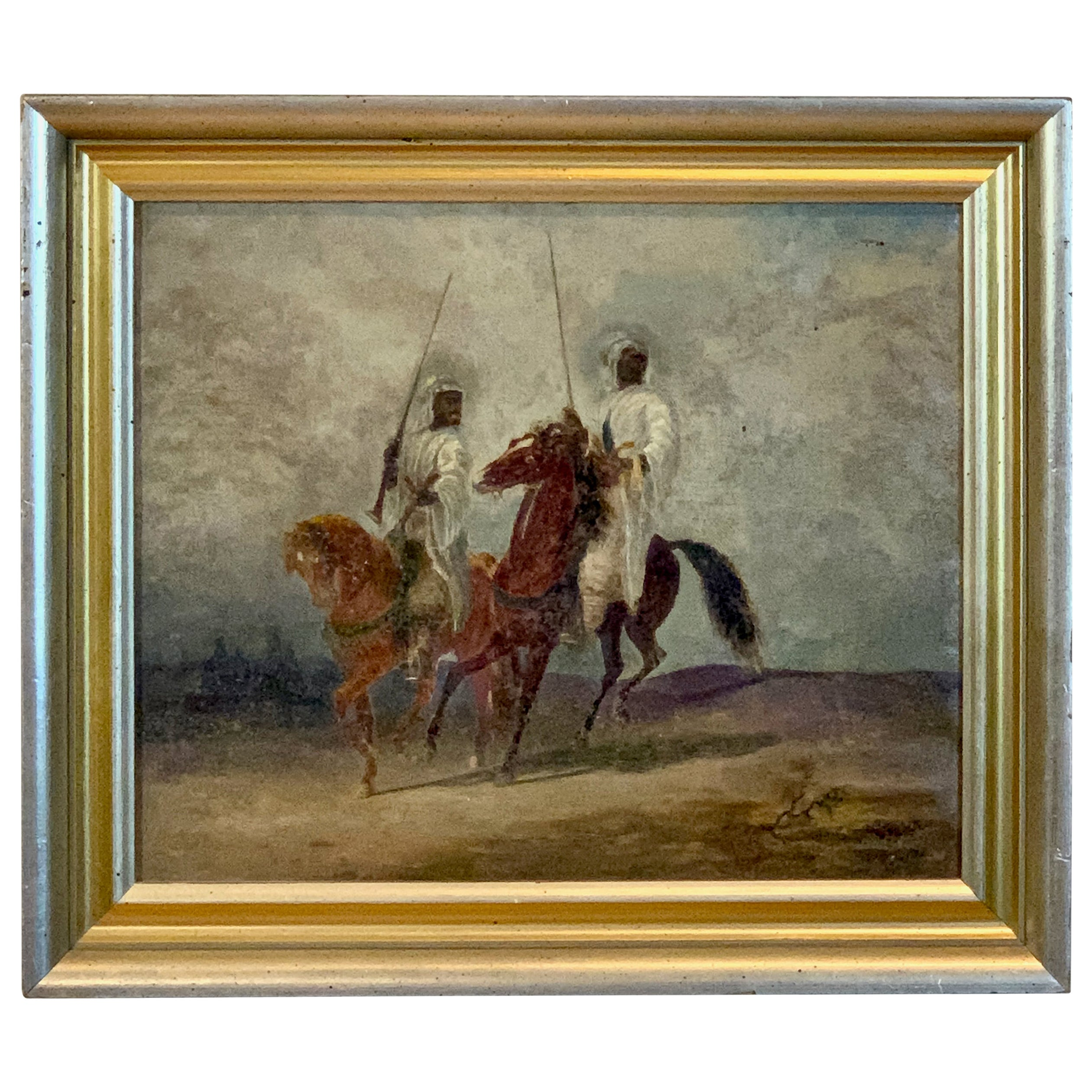Early 20th Century Oil on Canvas Painting of Bedouins on Horseback
