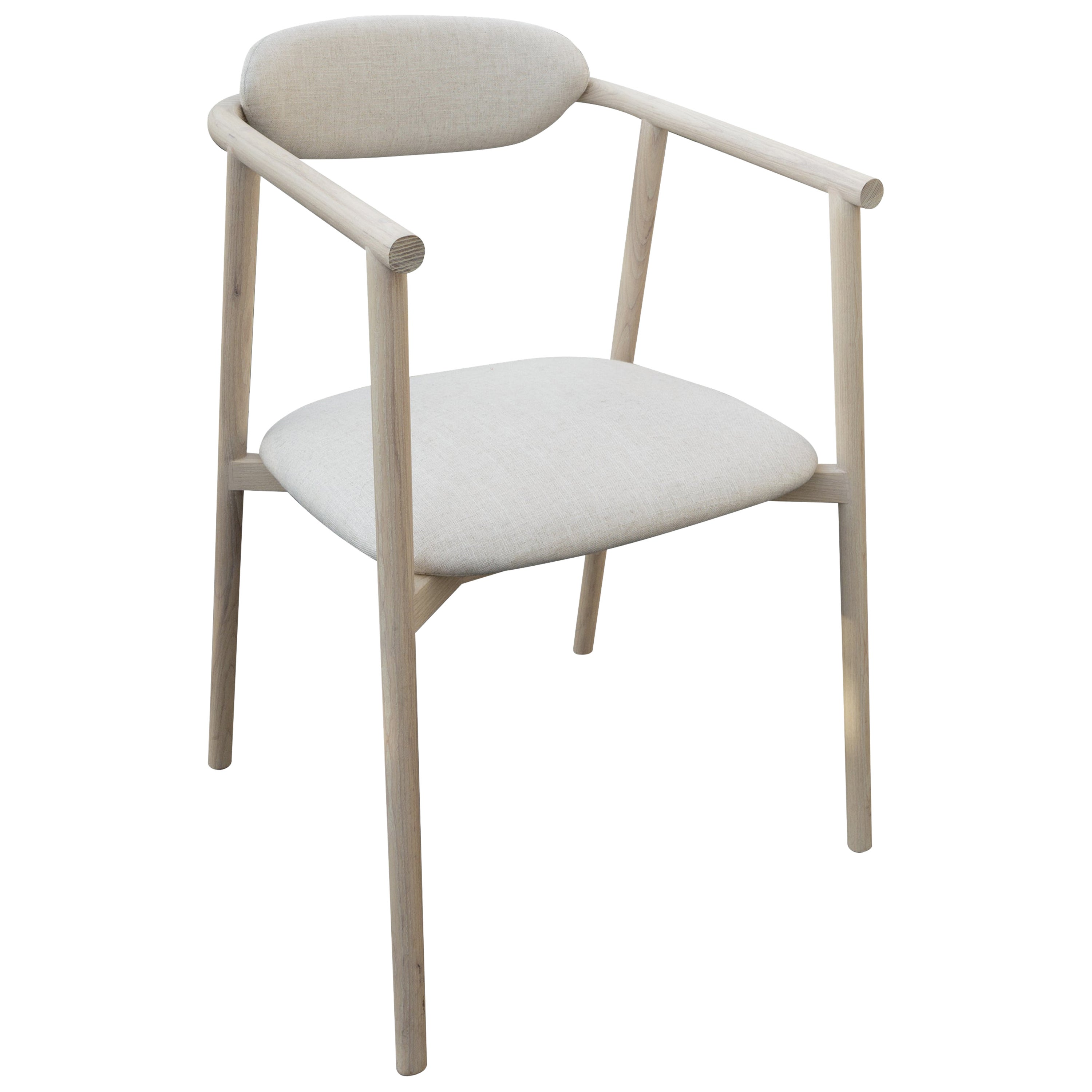 Neutra Ash Carved Wood Chair with Linen Color Upholstered Backrest and Seat