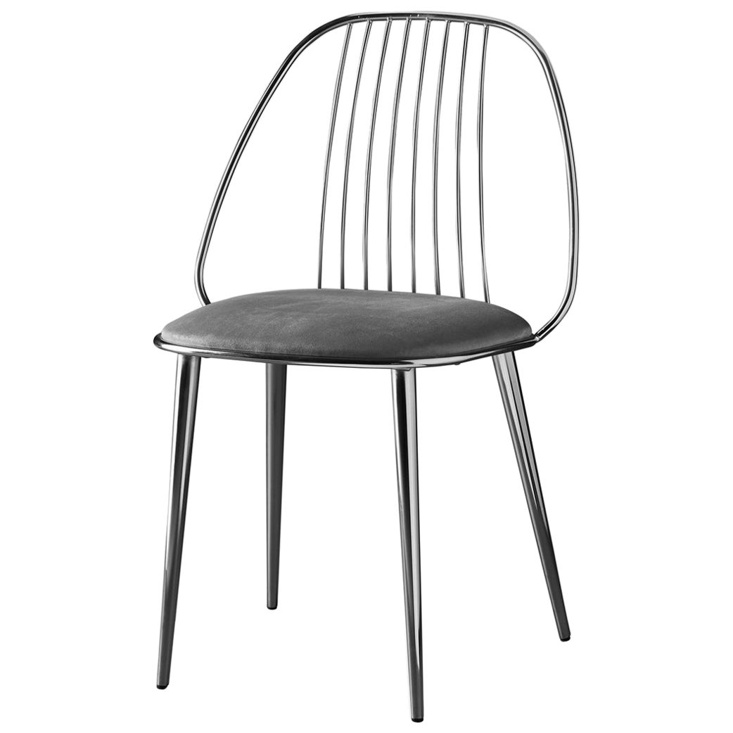 Waya, Black Chrome Finish Dining Chair and Grey Econabuk Seat, Made in Italy