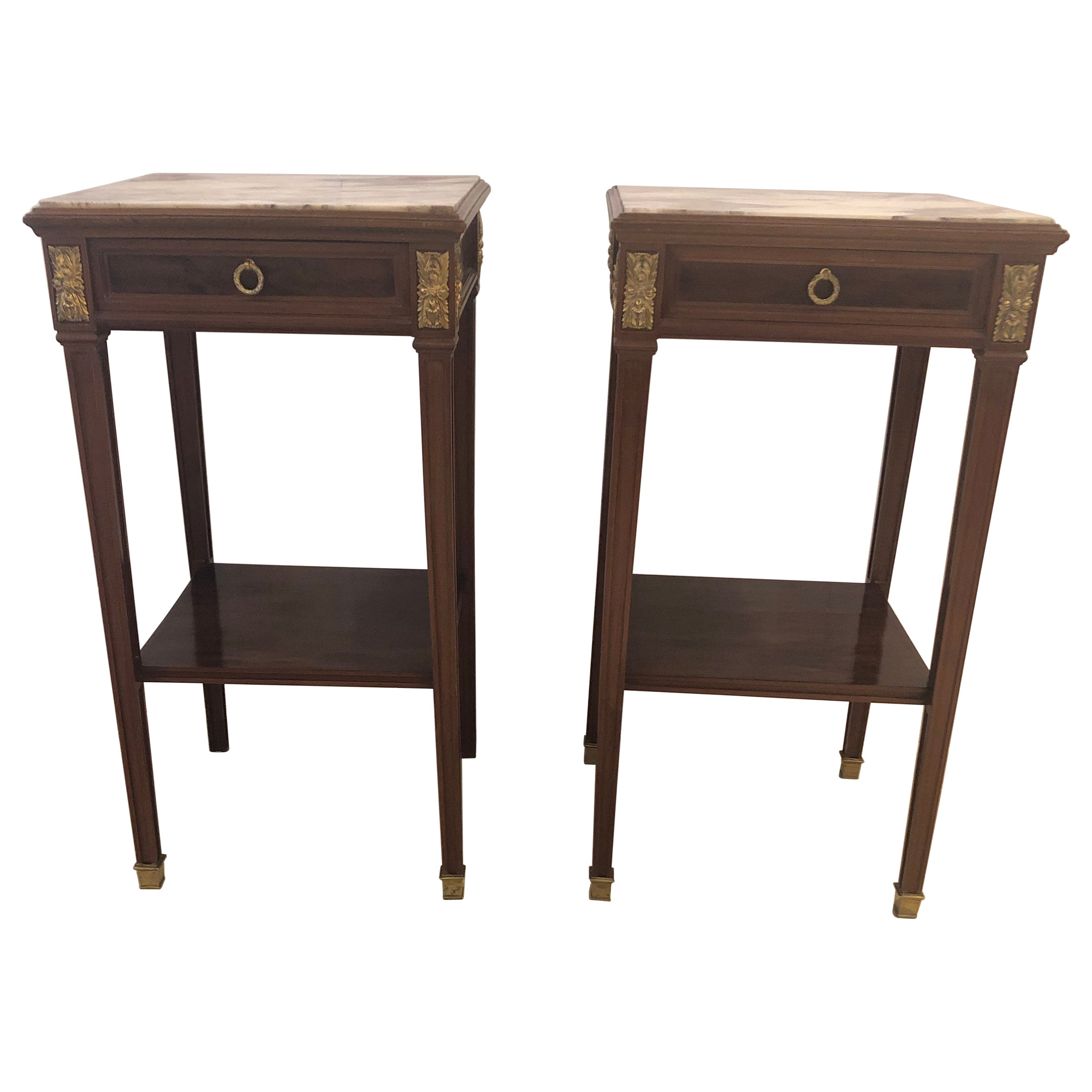 Sublimely Elegant Pair of Antique French Directoire Nightstands or End Tables