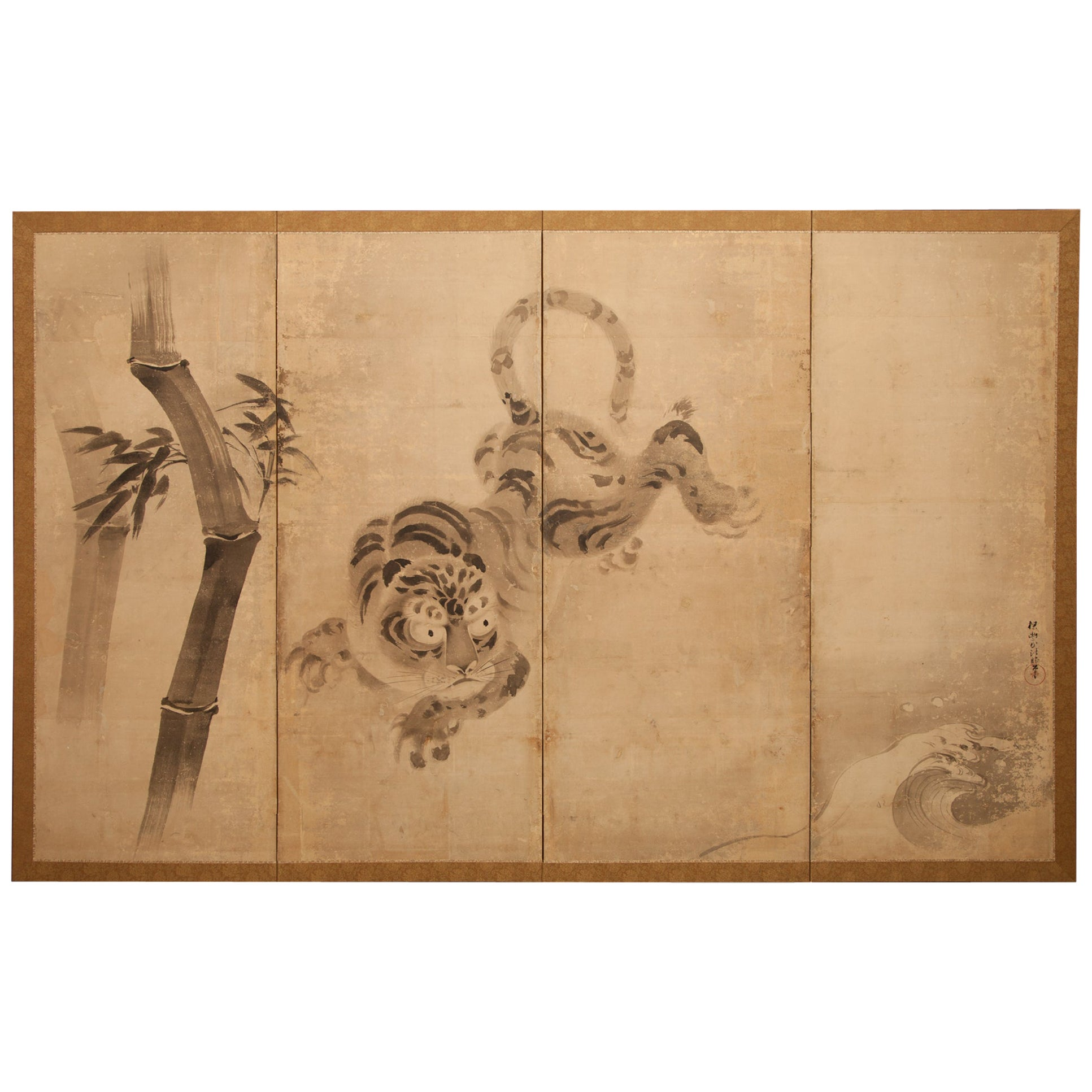 17th Century Japanese Four Panel Screen Leaping Tiger and Bamboo