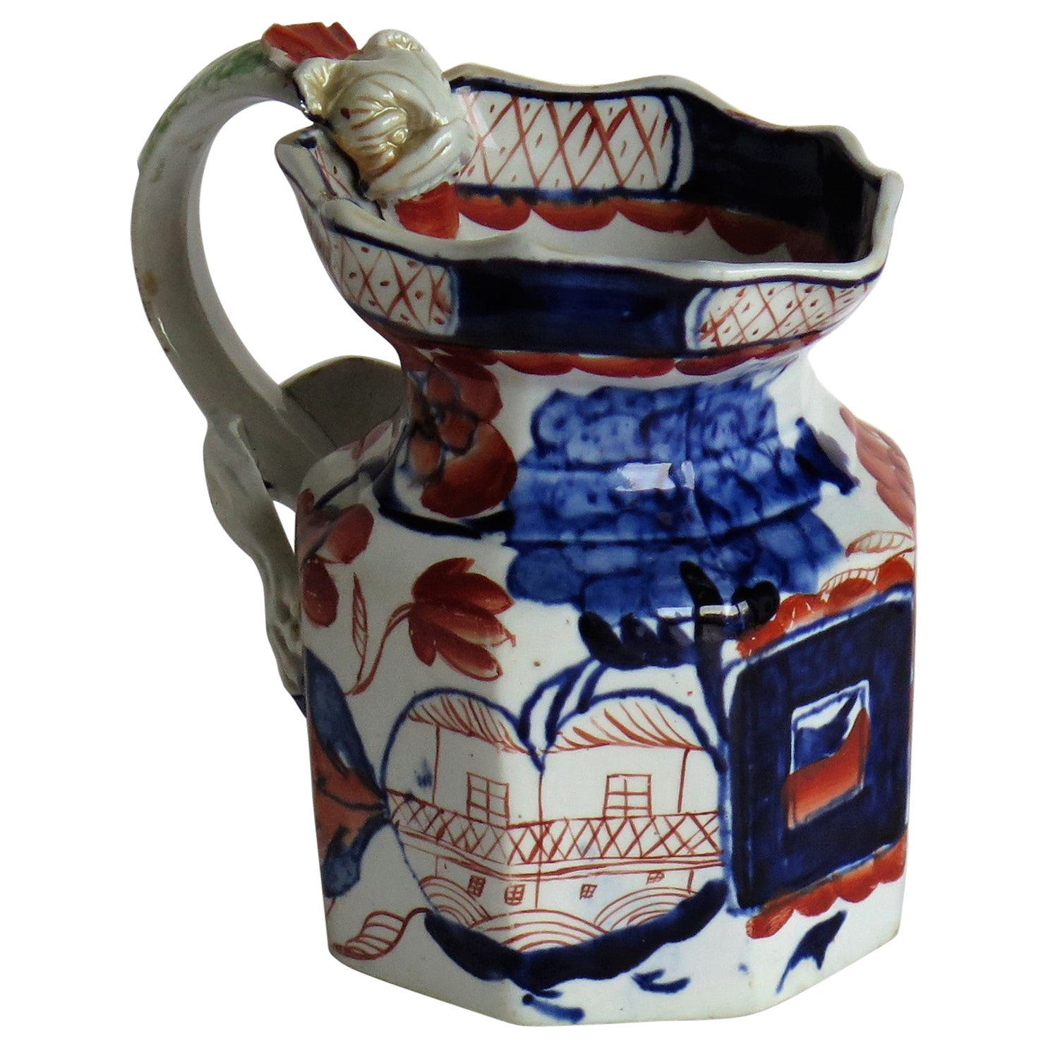 Early Ironstone Jug with Dragon Handle Hand Painted, Staffordshire, circa 1820