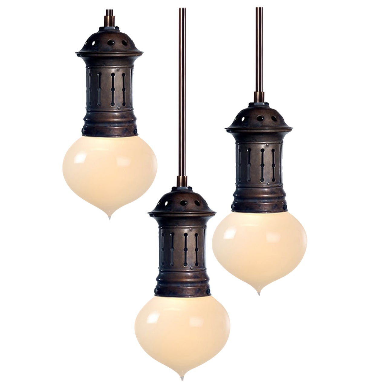 Onion Vaseline Pendents in Vented Copper Fixture