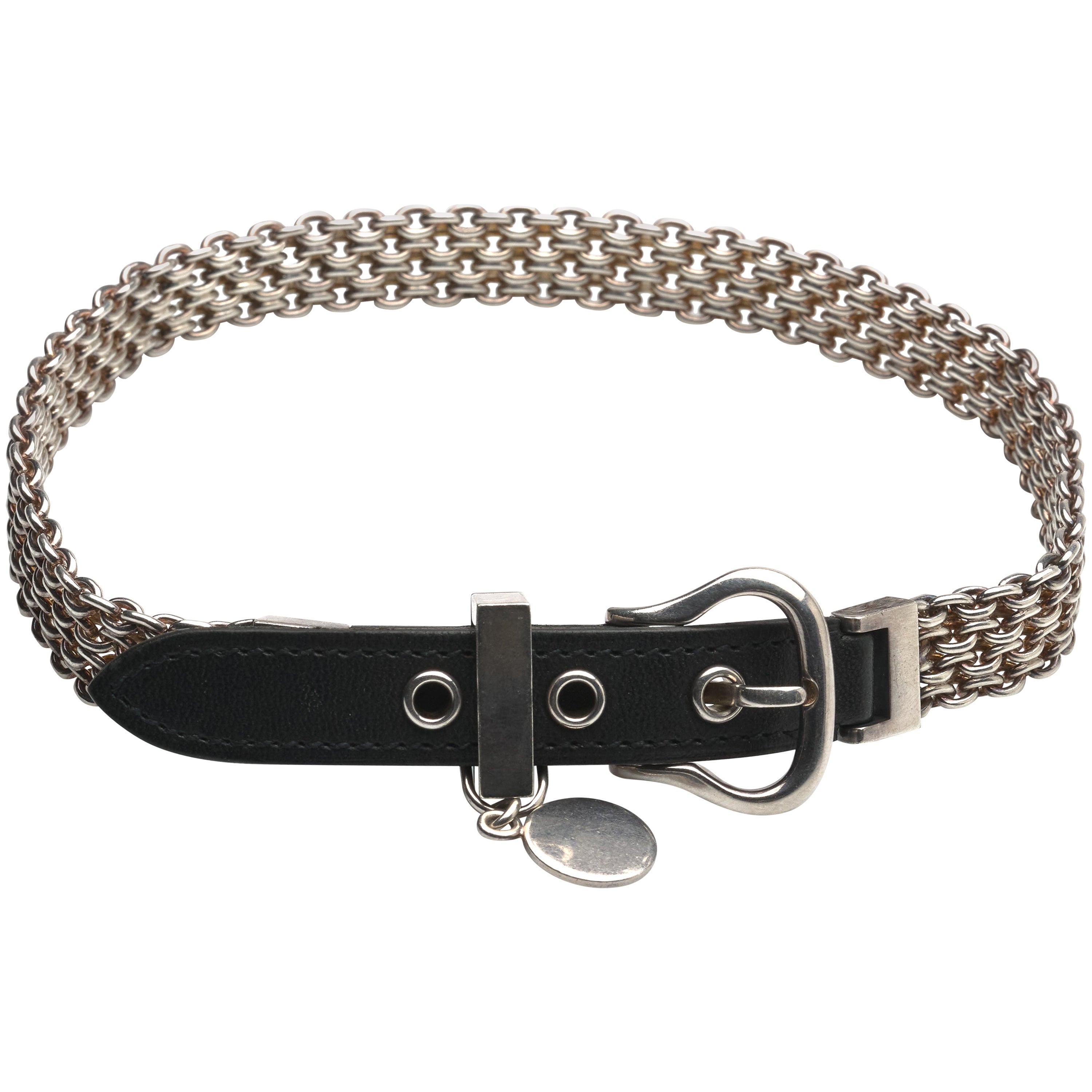 Hermes Sterling Silver and Leather Bracelet