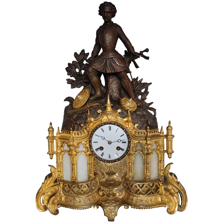 Gilt Bronze & Alabaster Gothic Revival Mantel Clock with Crusade Theme Sculpture