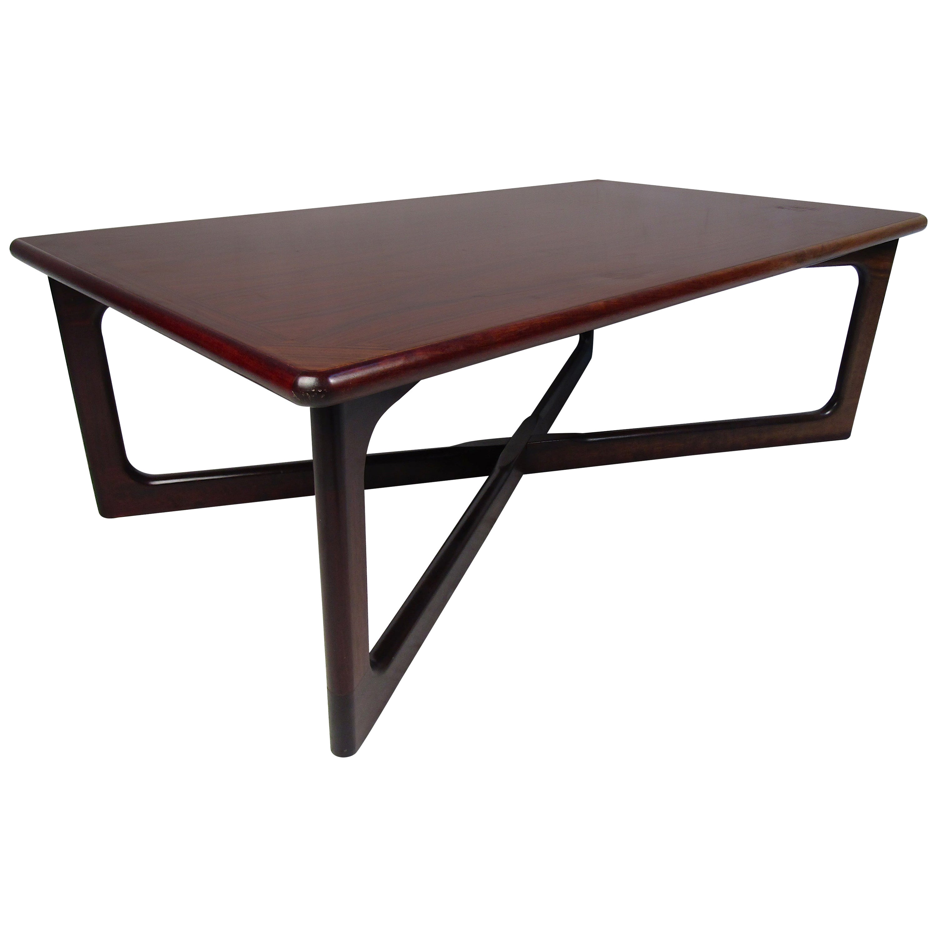 """Mid-Century Modern Rosewood """"X"""" Base Coffee Table"""