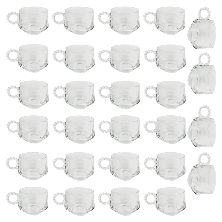 Large Set of Punch or Eggnog Glass Cups with Bubble Handles, Set of 28