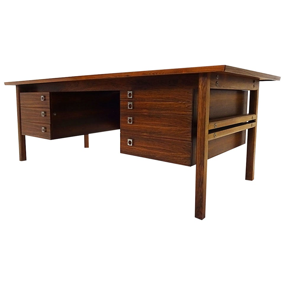 Large Vintage Danish Midcentury Rosewood Desk by Arne Vodder for Sibast