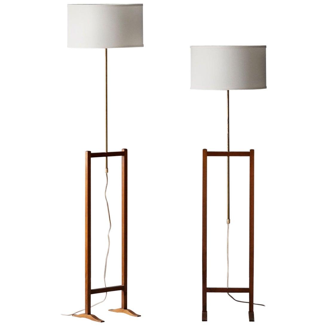 Josef Frank, Early Adjustable Floor Lamps, Brass, Mahogany, Svenskt Tenn, 1950s