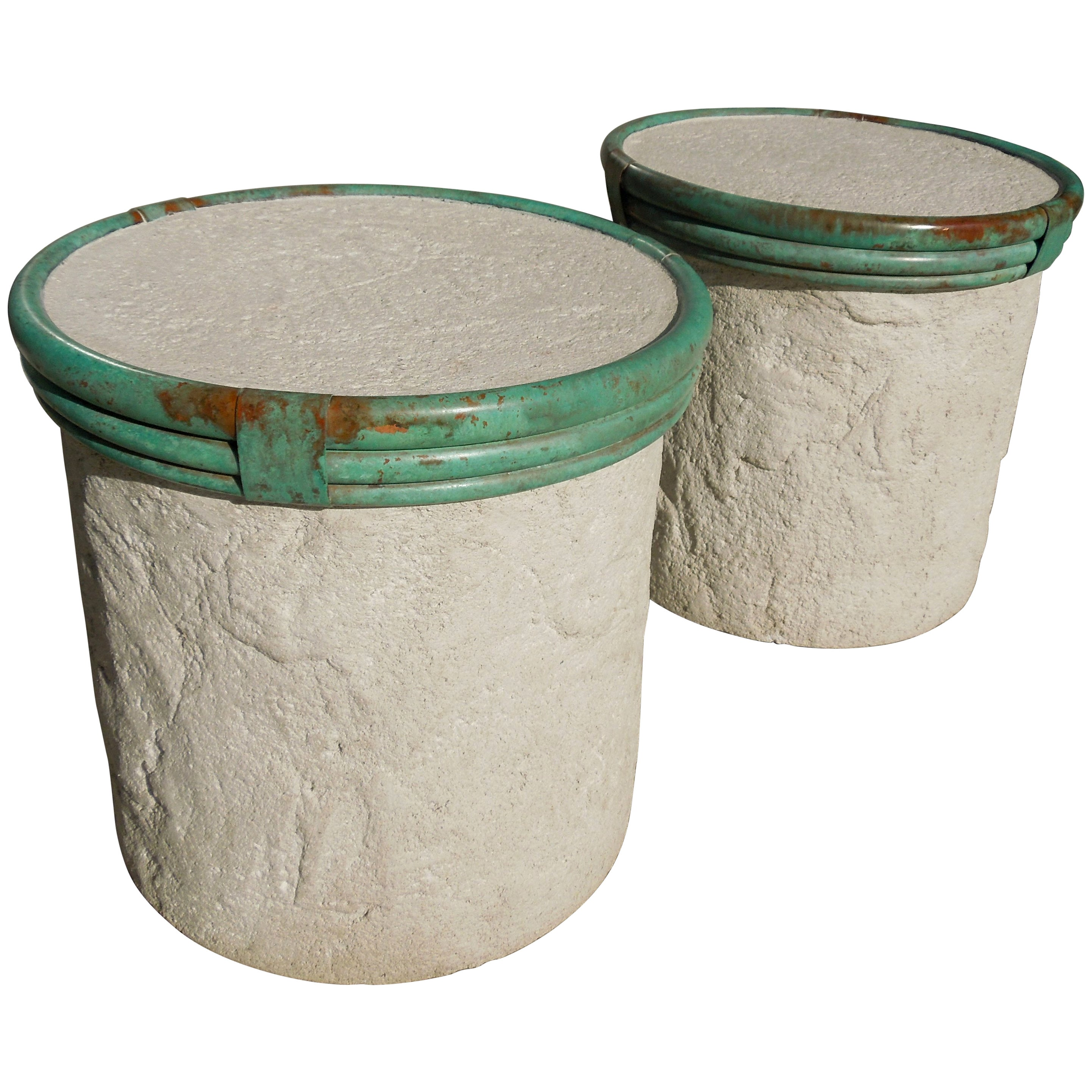Steve Chase Pair of Plaster and Verdigris Metal Cylinder Side Tables