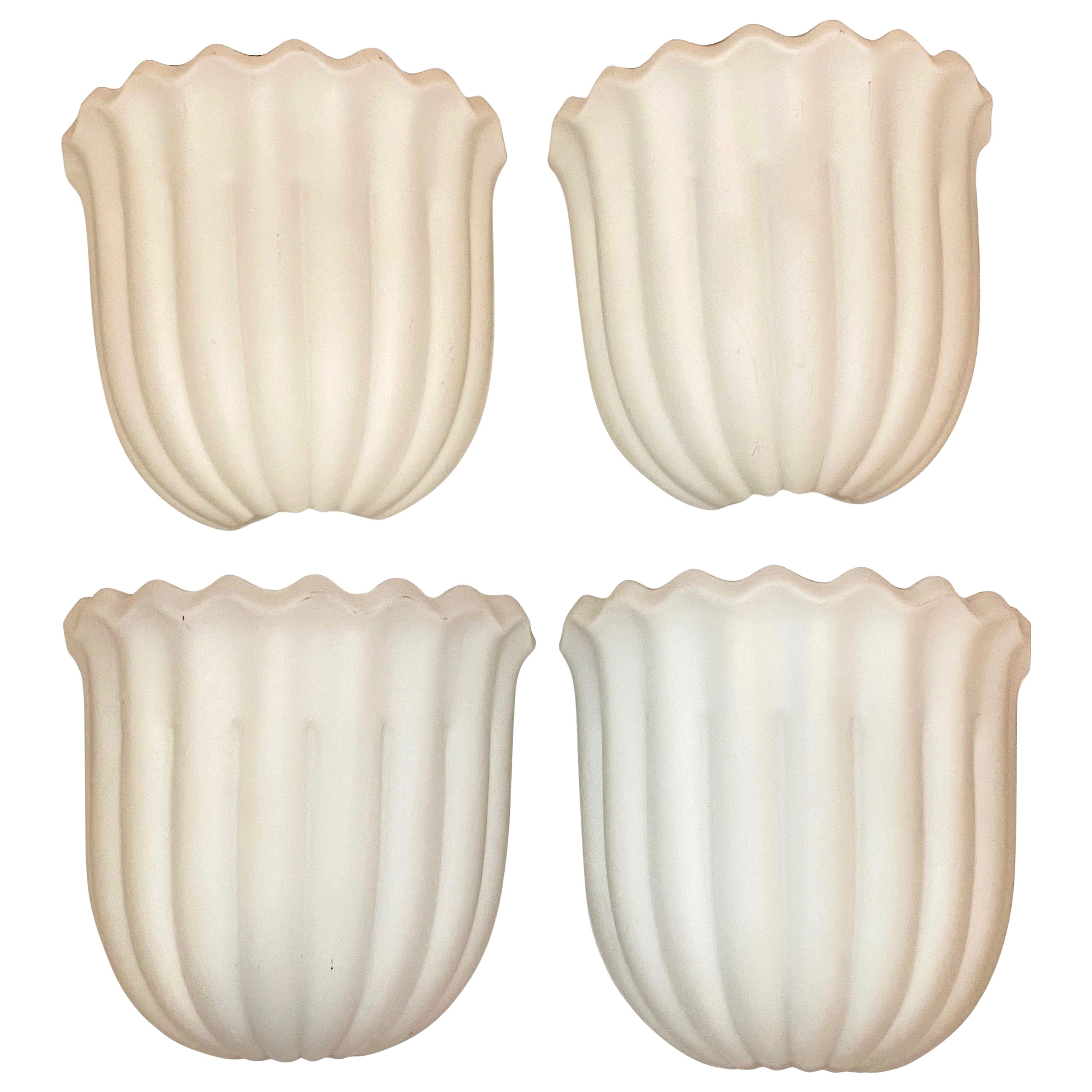 Four Milk Glass Art Deco Style Sconces Glashütte Limburg, Germany, 1960s