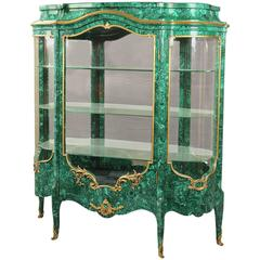 Beautiful Late 19th Century Gilt Bronze-Mounted Malachite Vitrine