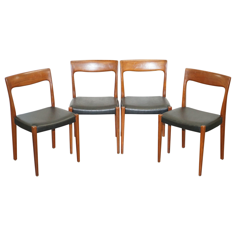 Suite of Four Original Svegards Markaryd Danish Dining Chairs with Teak Frames