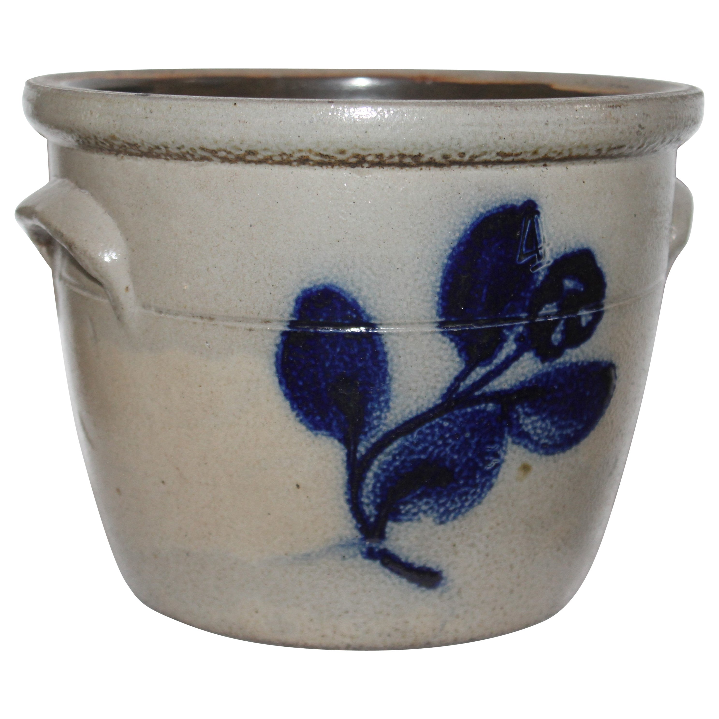 19th Century Decorated Stoneware Crock with Handles