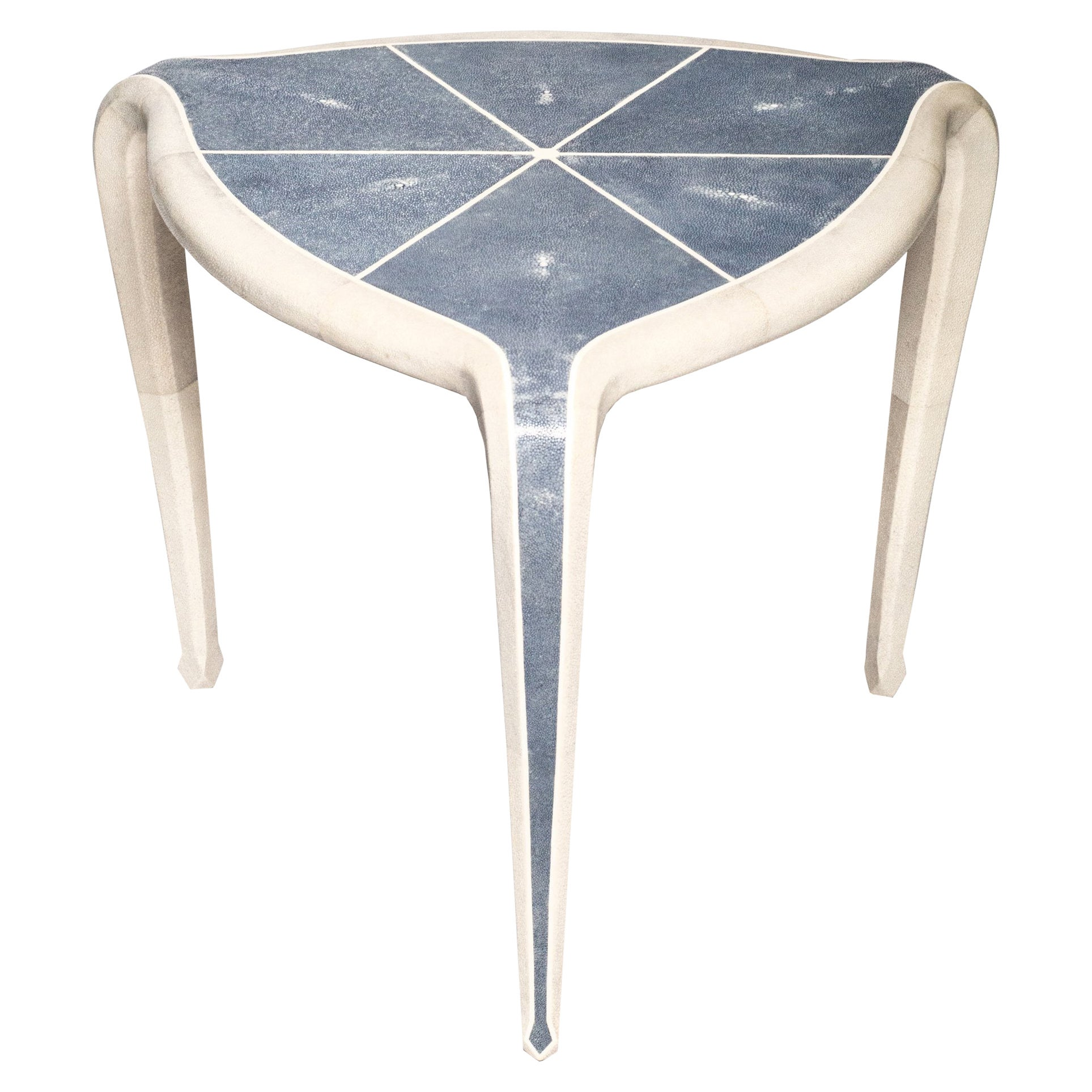 Contemporary Authentic Shagreen Tripod Table in Navy