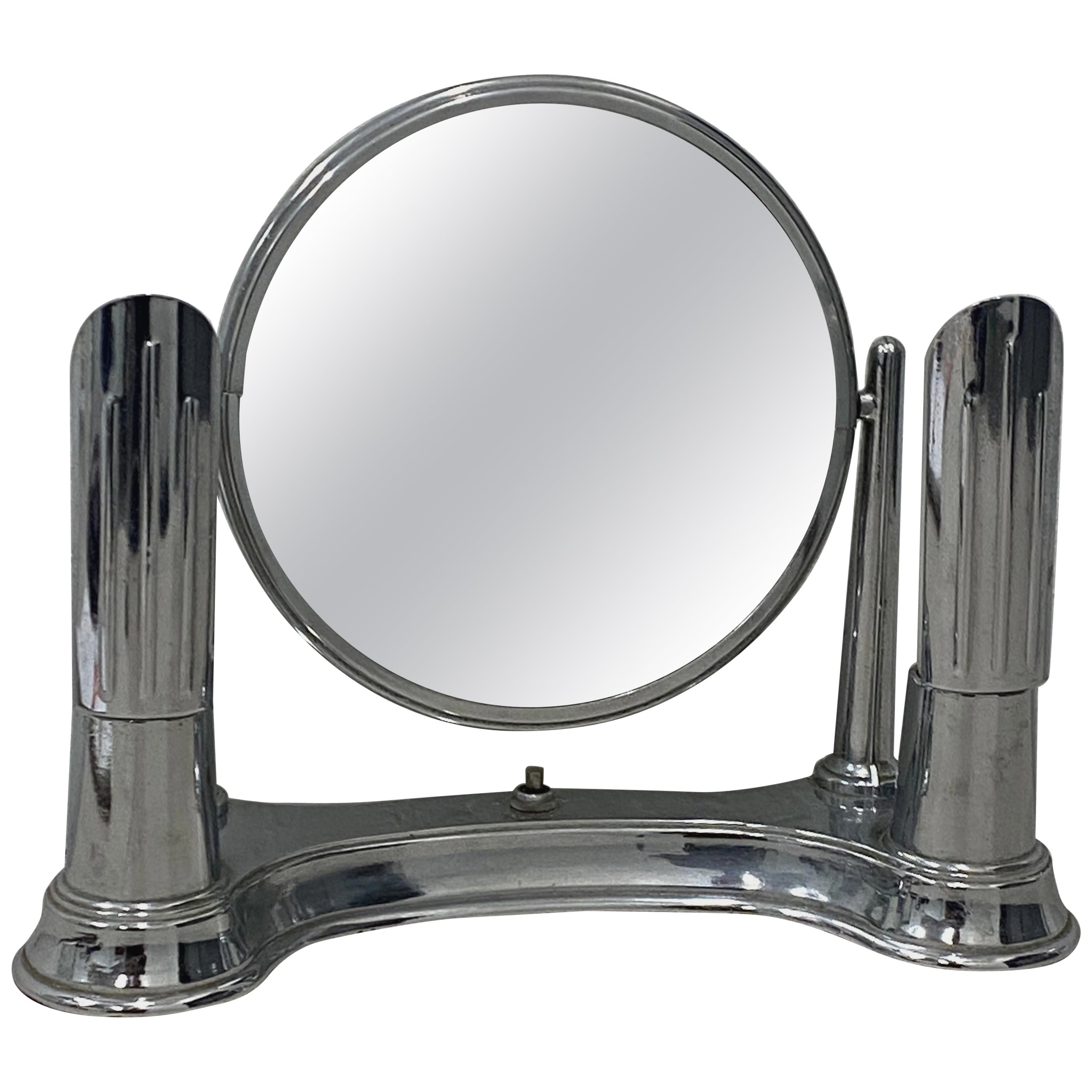 "Art Deco ""Bel-Ayre"" Chrome Plate Vanity Table Top Mirror, circa 1930"