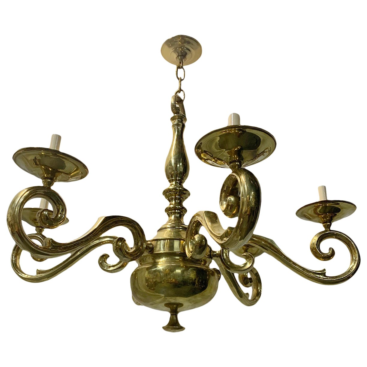 Set of French Polished Bronze Chandeliers, Sold Individually