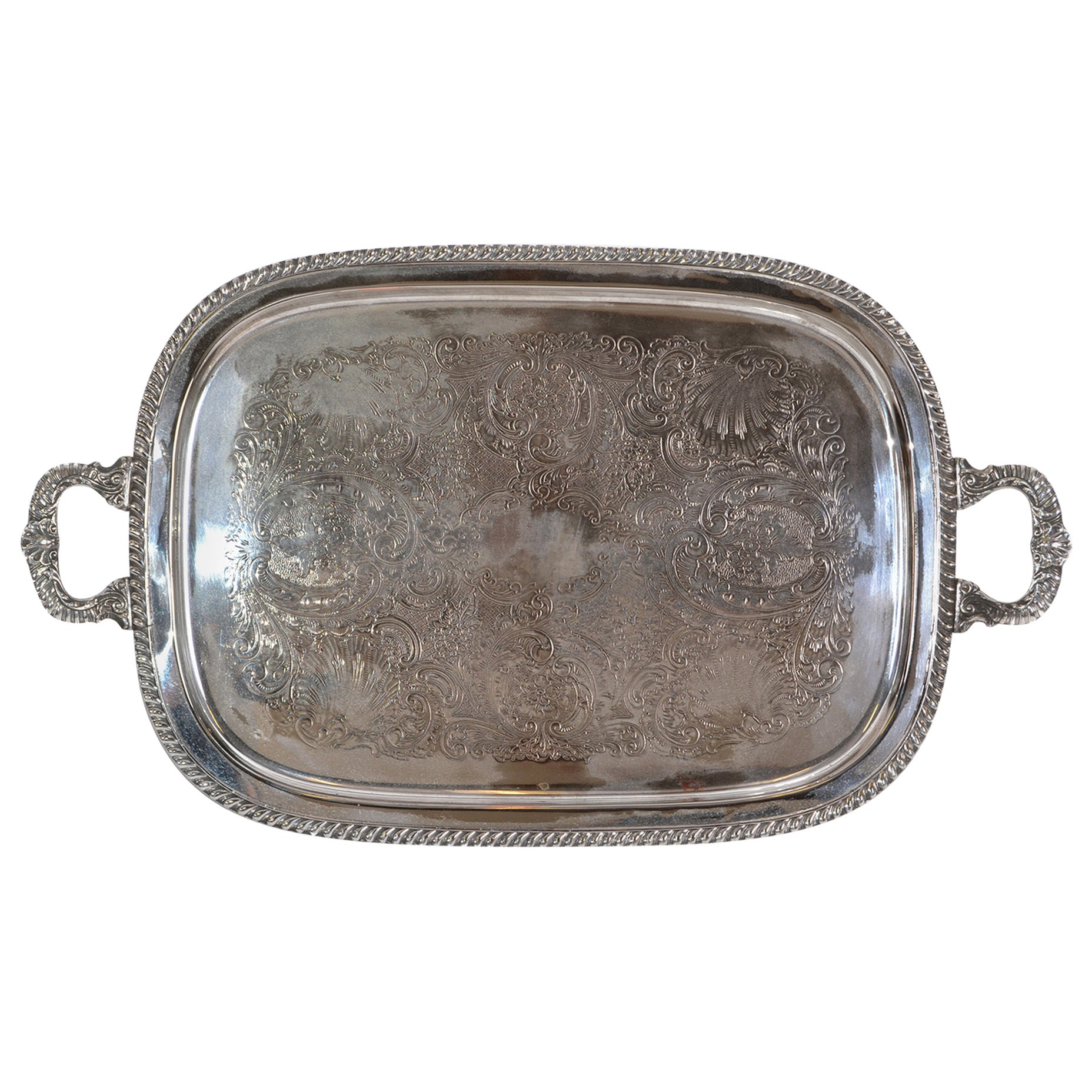 Old English Silver Plate Ornate Rectangular Footed Serving Tray with Handles