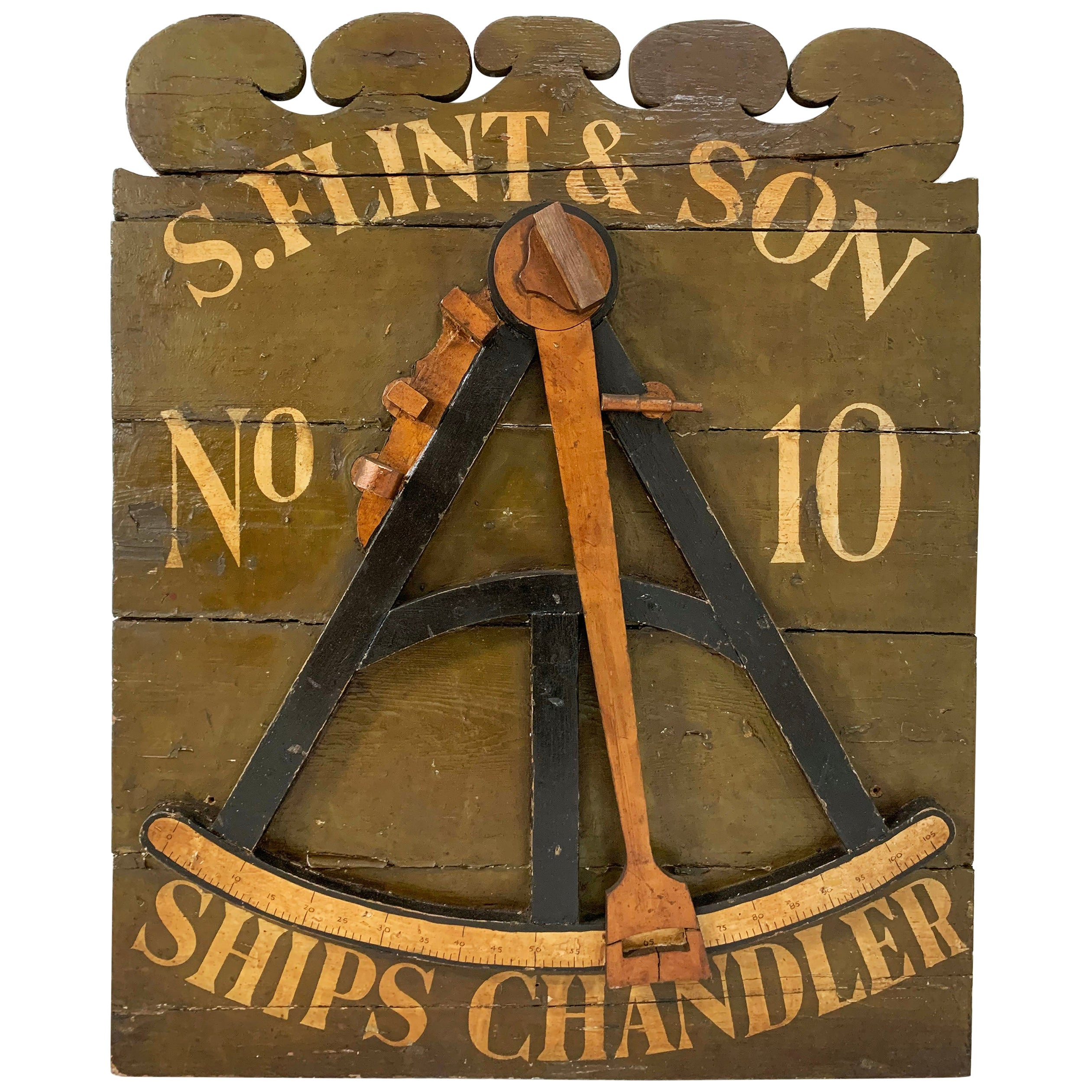 19th Century Antique Ships Chandler Shop Advertising Sign