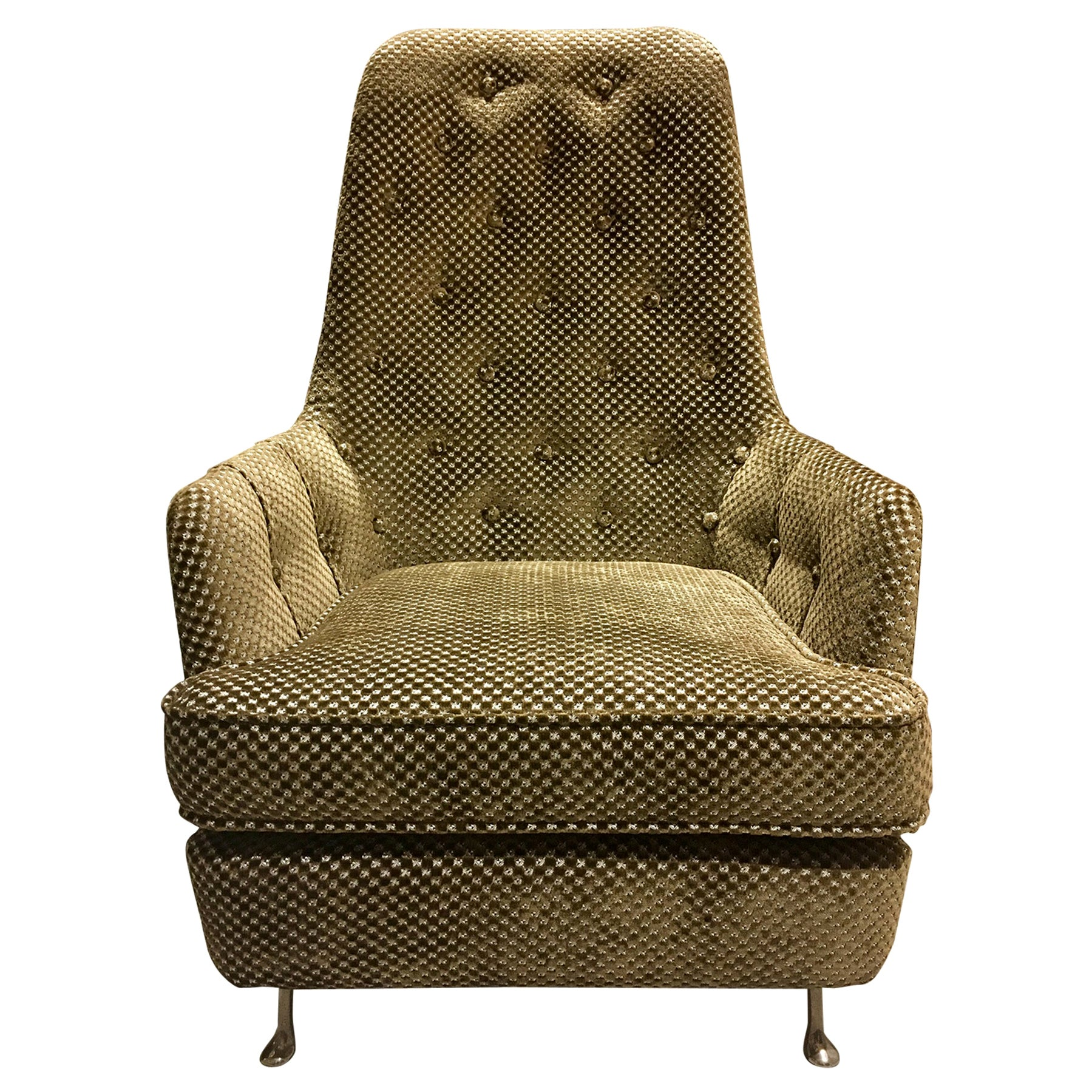 1950s Button-Tufted Armchair with Metal Feet