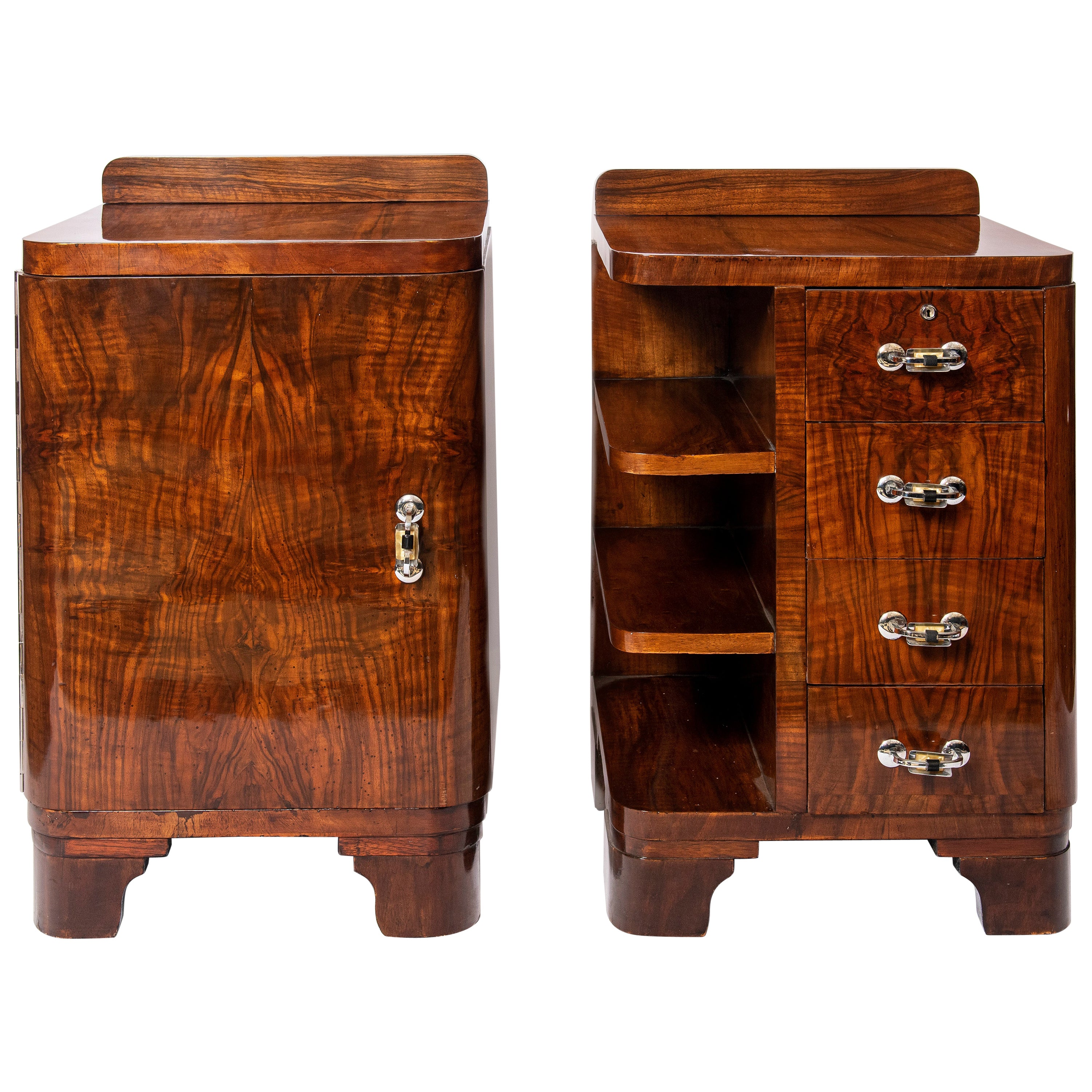 Pair of Wood and Chrome Metal Nightstands, Art Deco Period, France, circa 1940