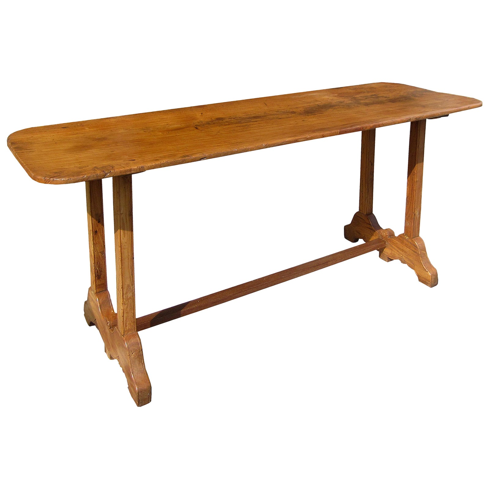 19th Century Continental Trestle Console Table, Probably Elmwood