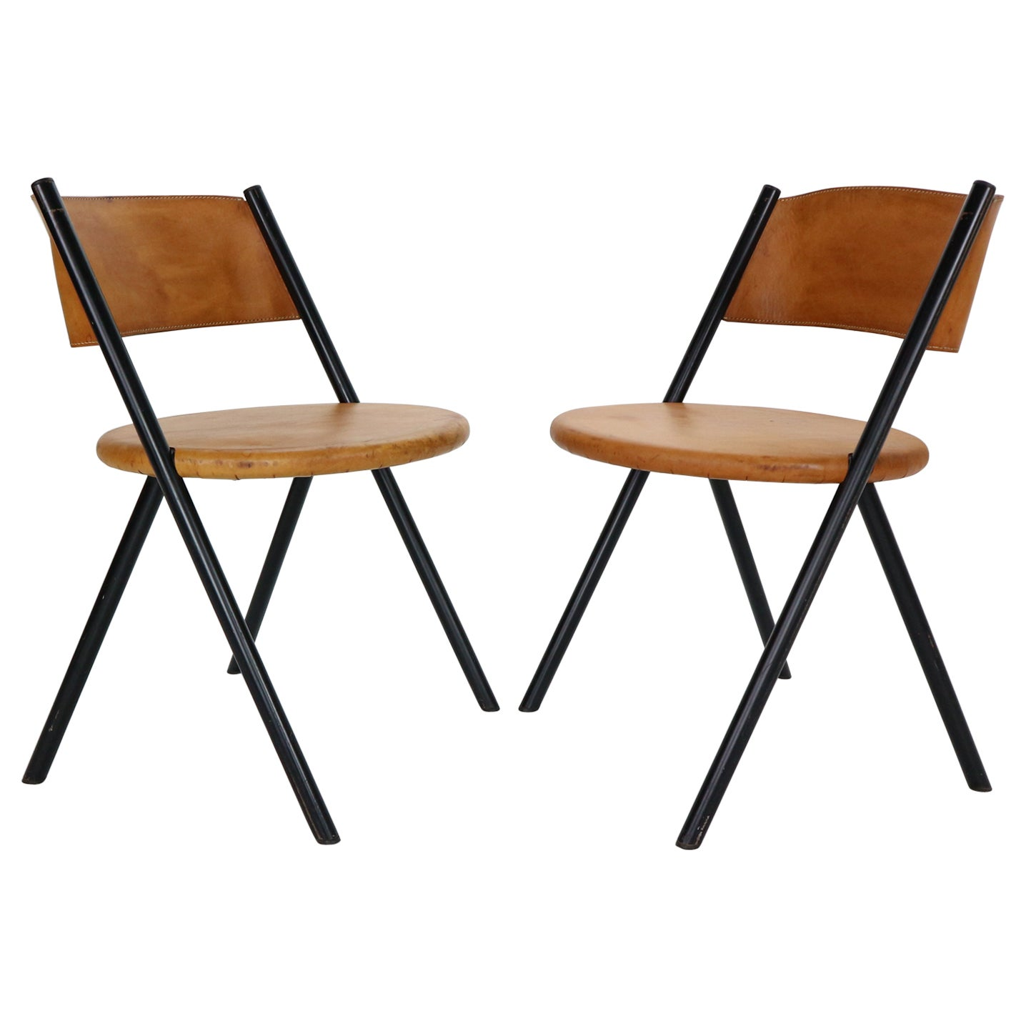 Mid-Century Modern Set of 2 Cognac Leather Chairs, 1970s, Italy