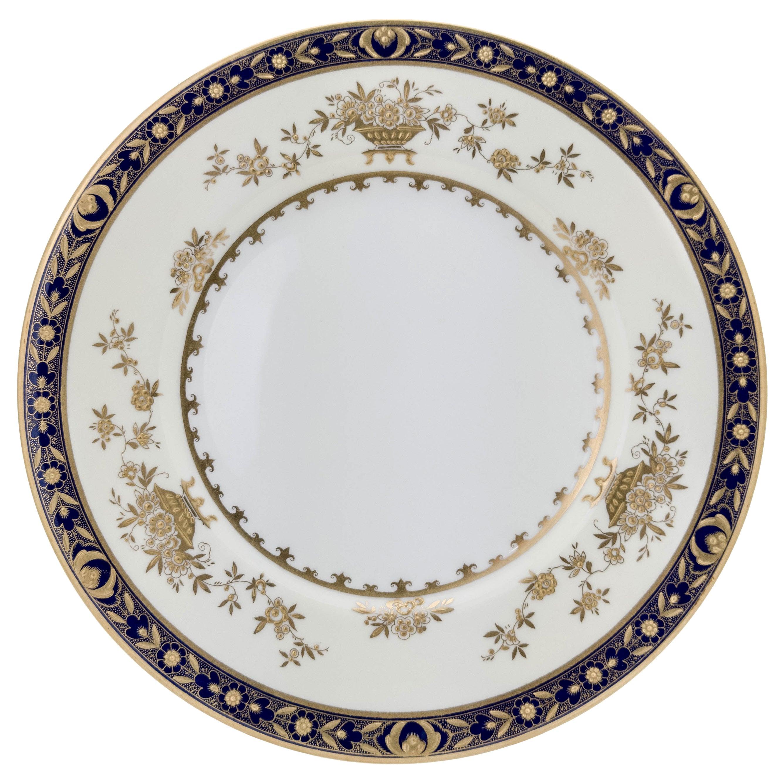 6 Minton England Cobalt Blue and Raised Gold Dinner Plates
