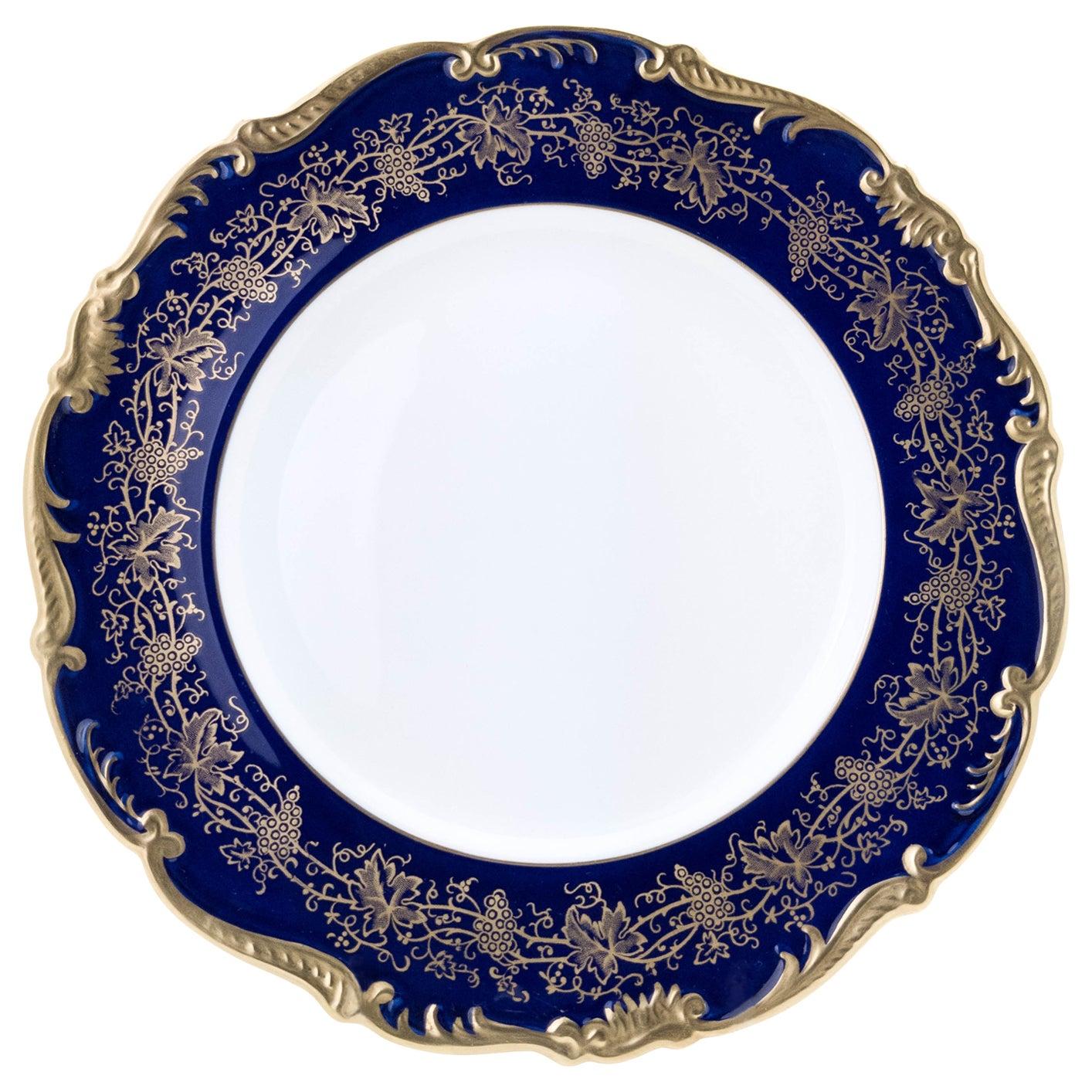 12 Vintage Cobalt Blue Dinner Plates by Coalport England, Great Shape