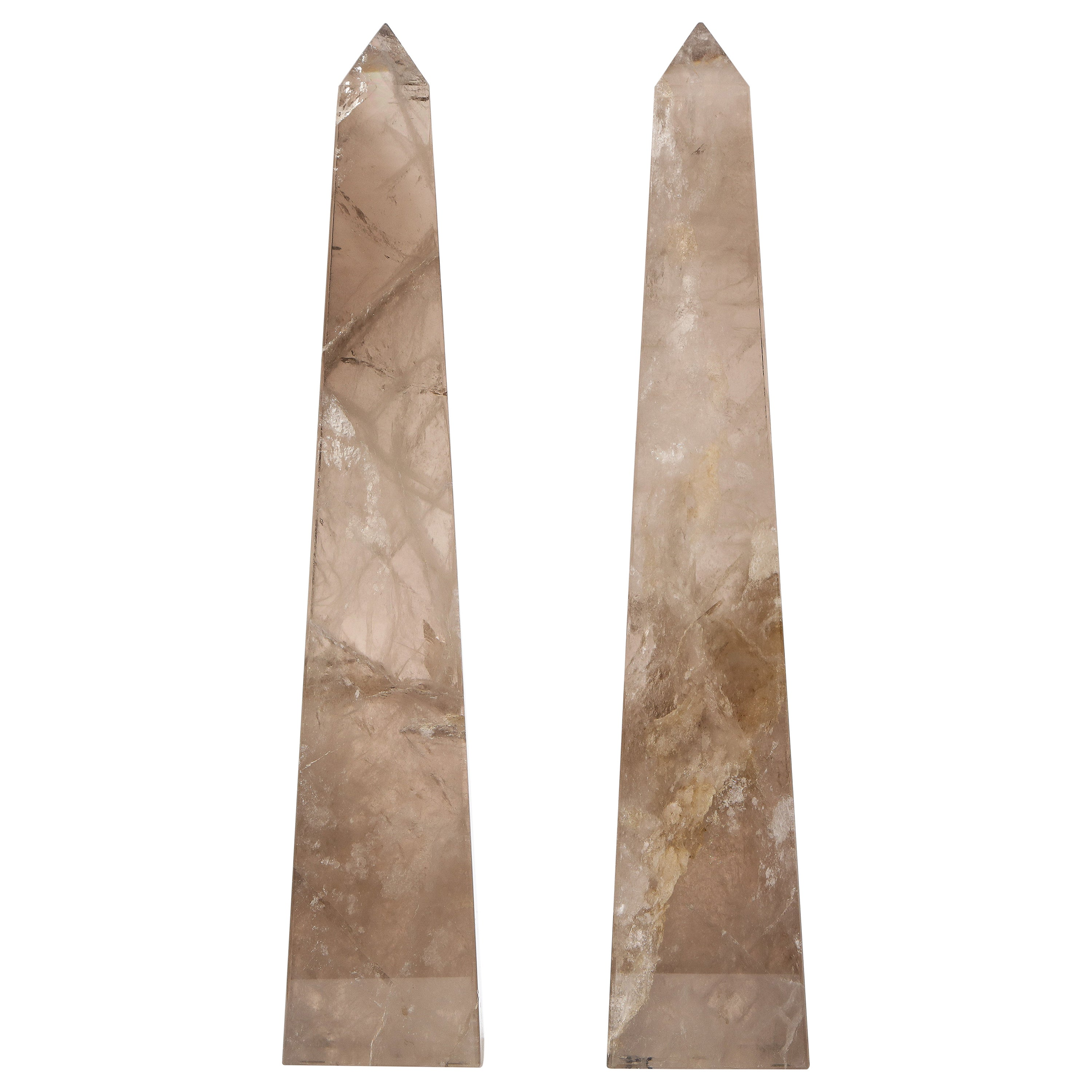 Pair of Smokey Rock Crystal Quartz Hand Carved and Hand-Polished Obelisks