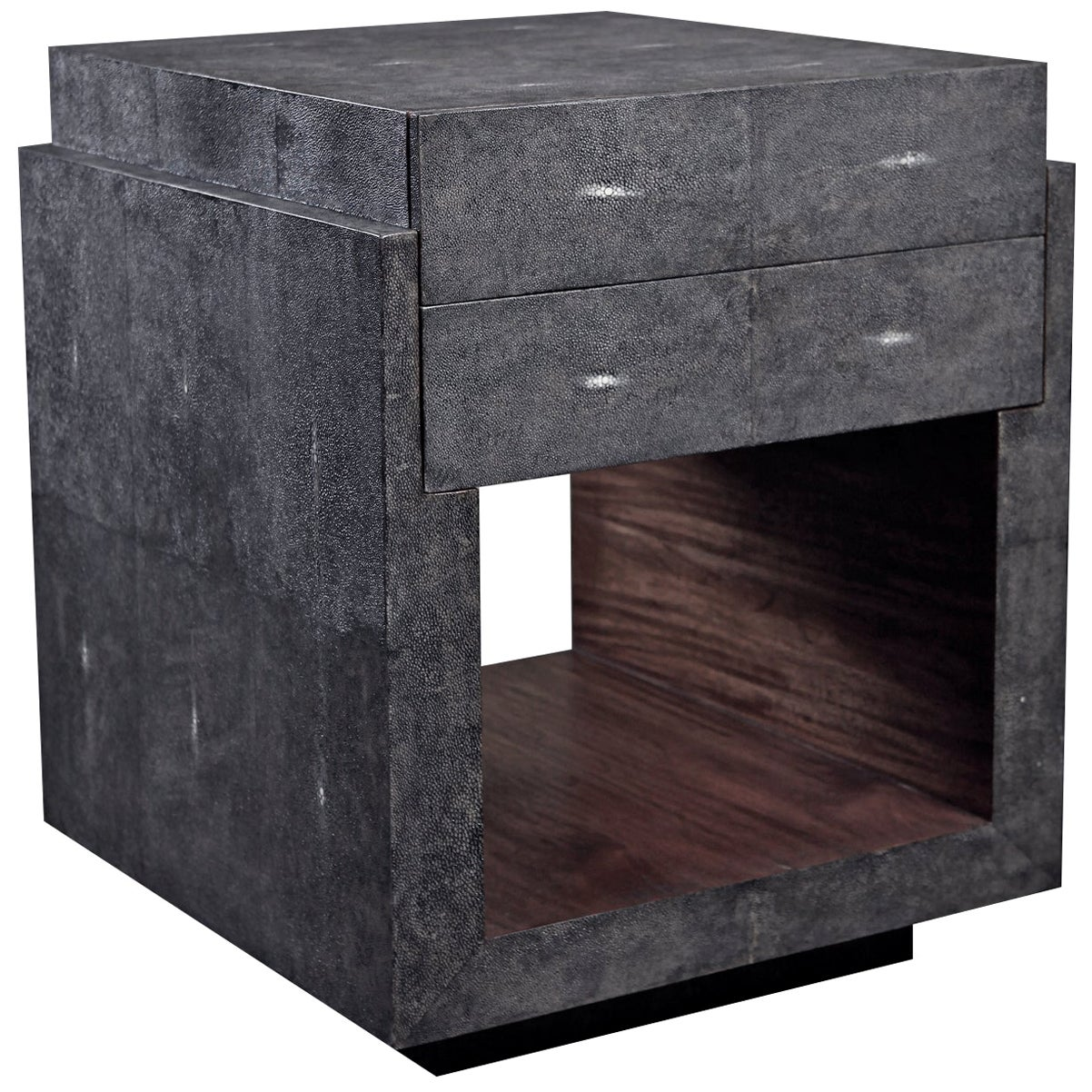 Bedside Table in Black Shagreen by R&Y Augousti