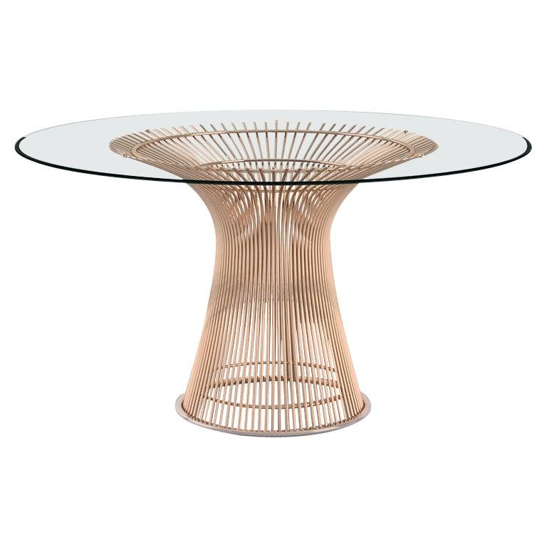 Platner Dining Table, Glass Top & Rose Gold Base