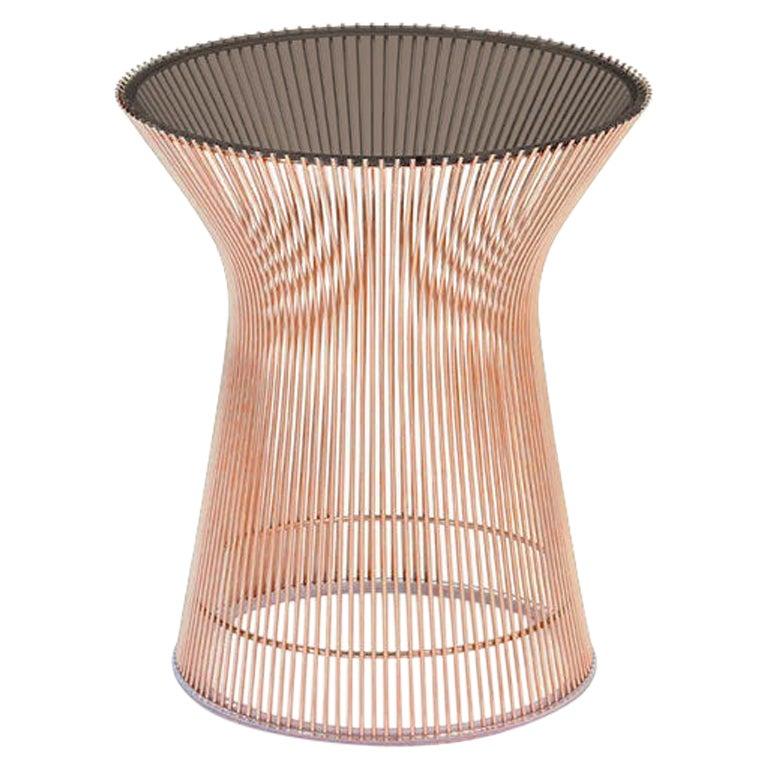 Platner Side Table, Bronze Glass Top & Rose Gold Base