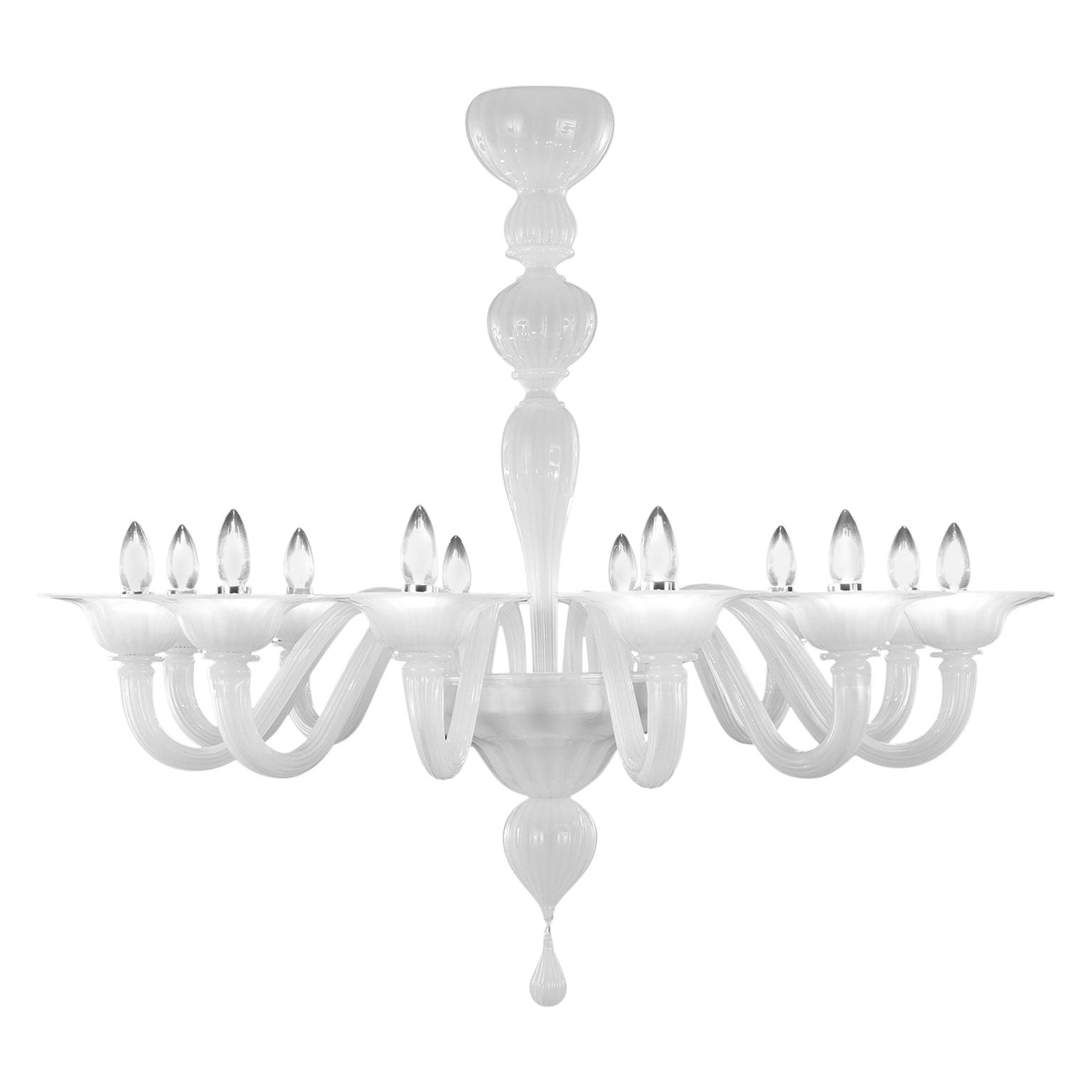 21st Century Chandelier, 12 Arms Silk Murano Glass by Multiforme