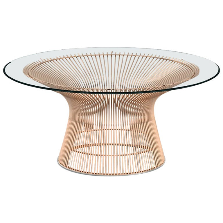 Platner Coffee Table, Glass Top & Rose Gold Base