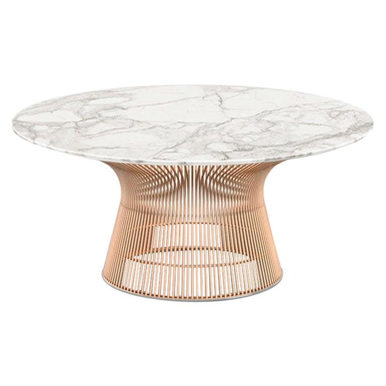 Platner Coffee Table, Satin Calacatta Top & Rose Gold Base