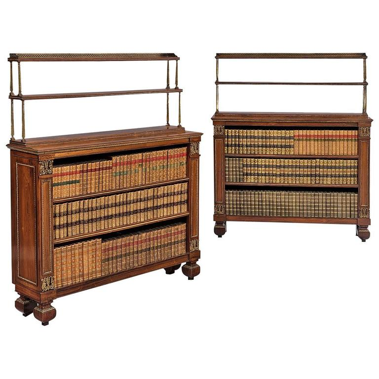 Pair Of Regency Rosewood Dwarf Bookcases With Gilt Ormolu And Brass Mounts At 1stdibs