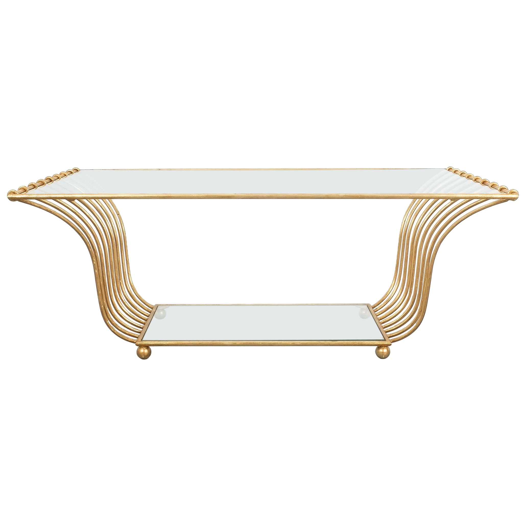One of Two Golden Harp Coffee Tables