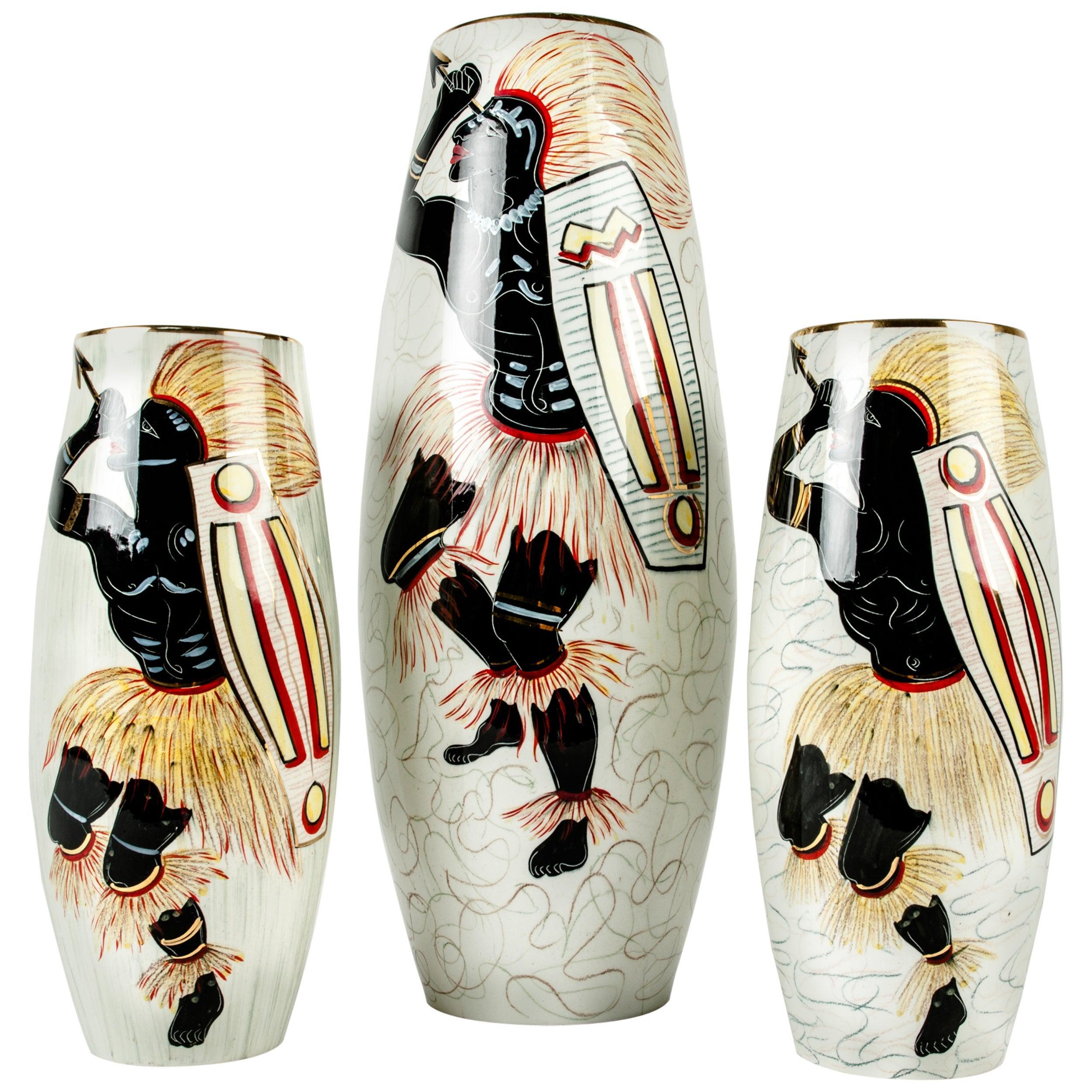 Glazed Porcelain Set Decorative Pieces / Vases
