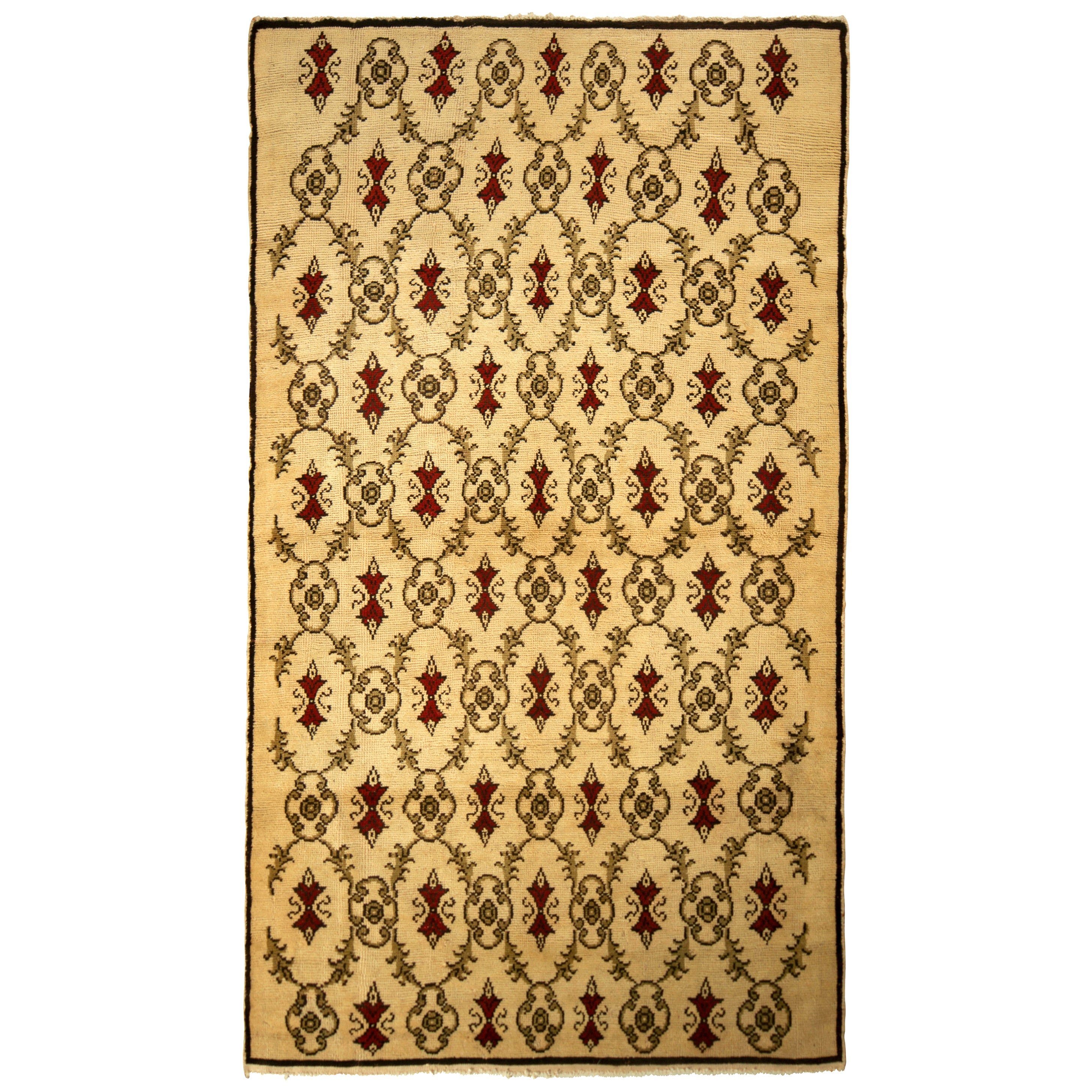 Contemporary Sparta Rug Beige Red Green Transitional Floral Pattern