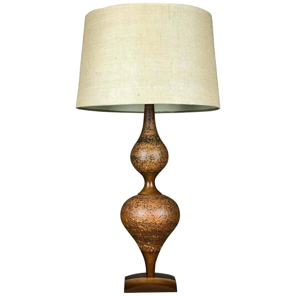 Mid Century Modern Genie Table Lamp of Ceramic and Walnut